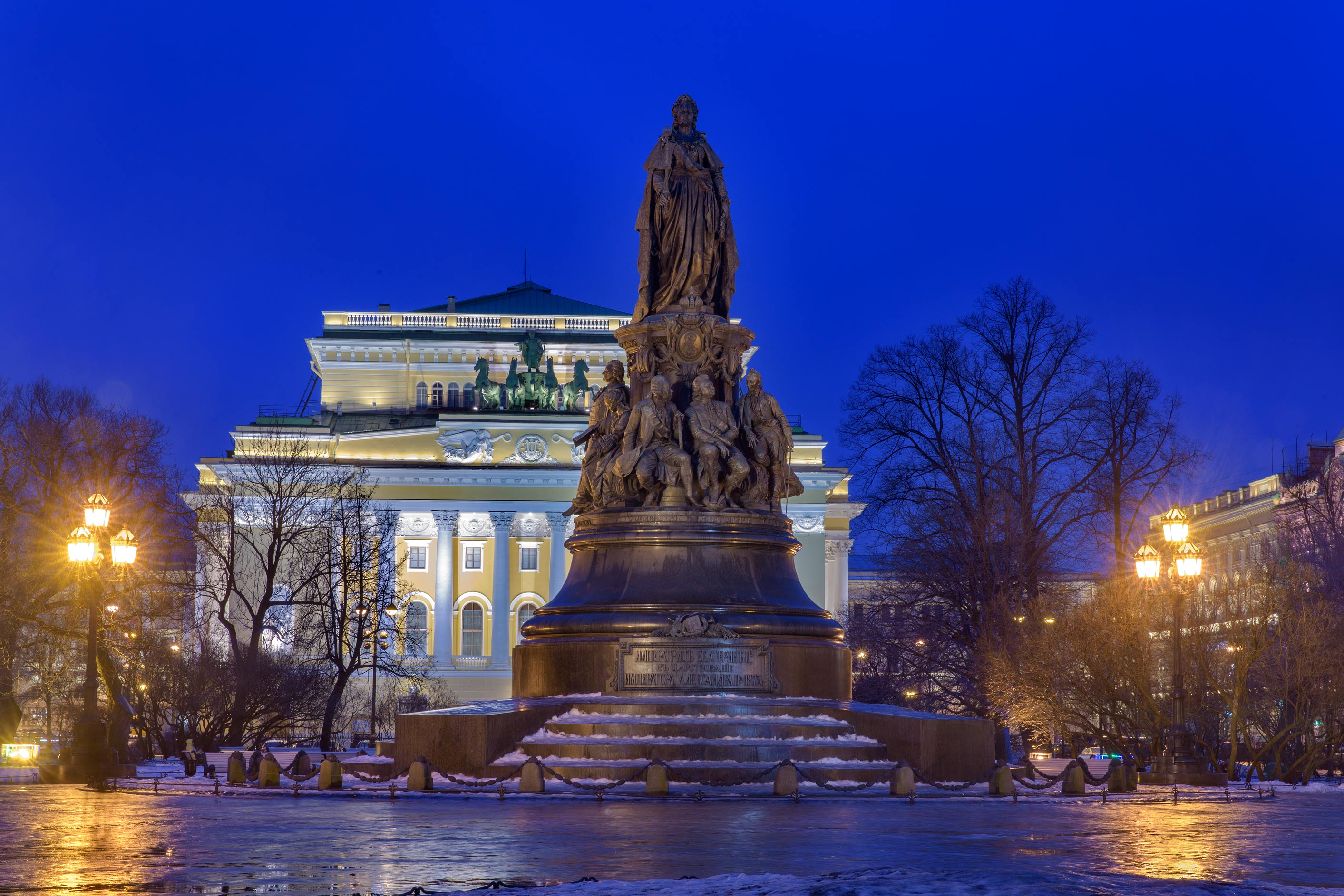 Monument of Catherine II on Ostrovskogo Square at morning. St.Petersburg, Russia