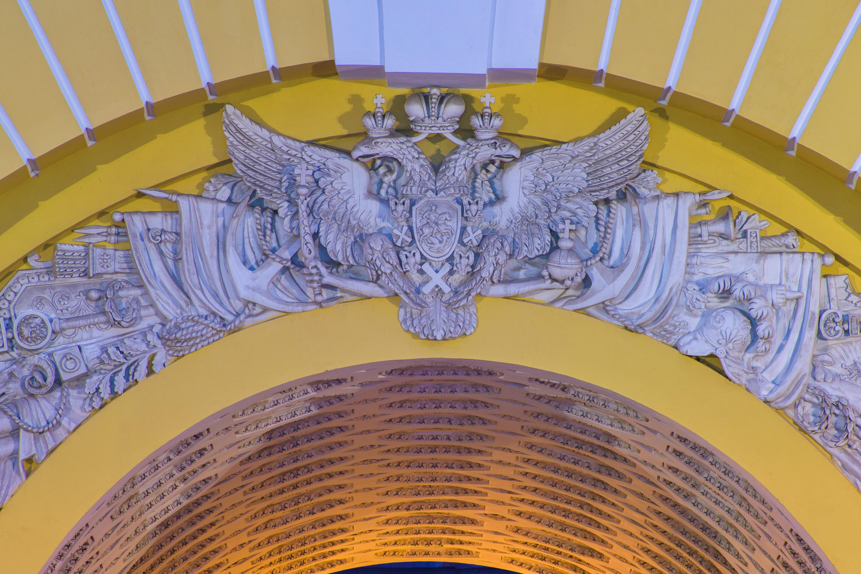 Twin head eagle over a gate of Admiralty. St.Petersburg, Russia