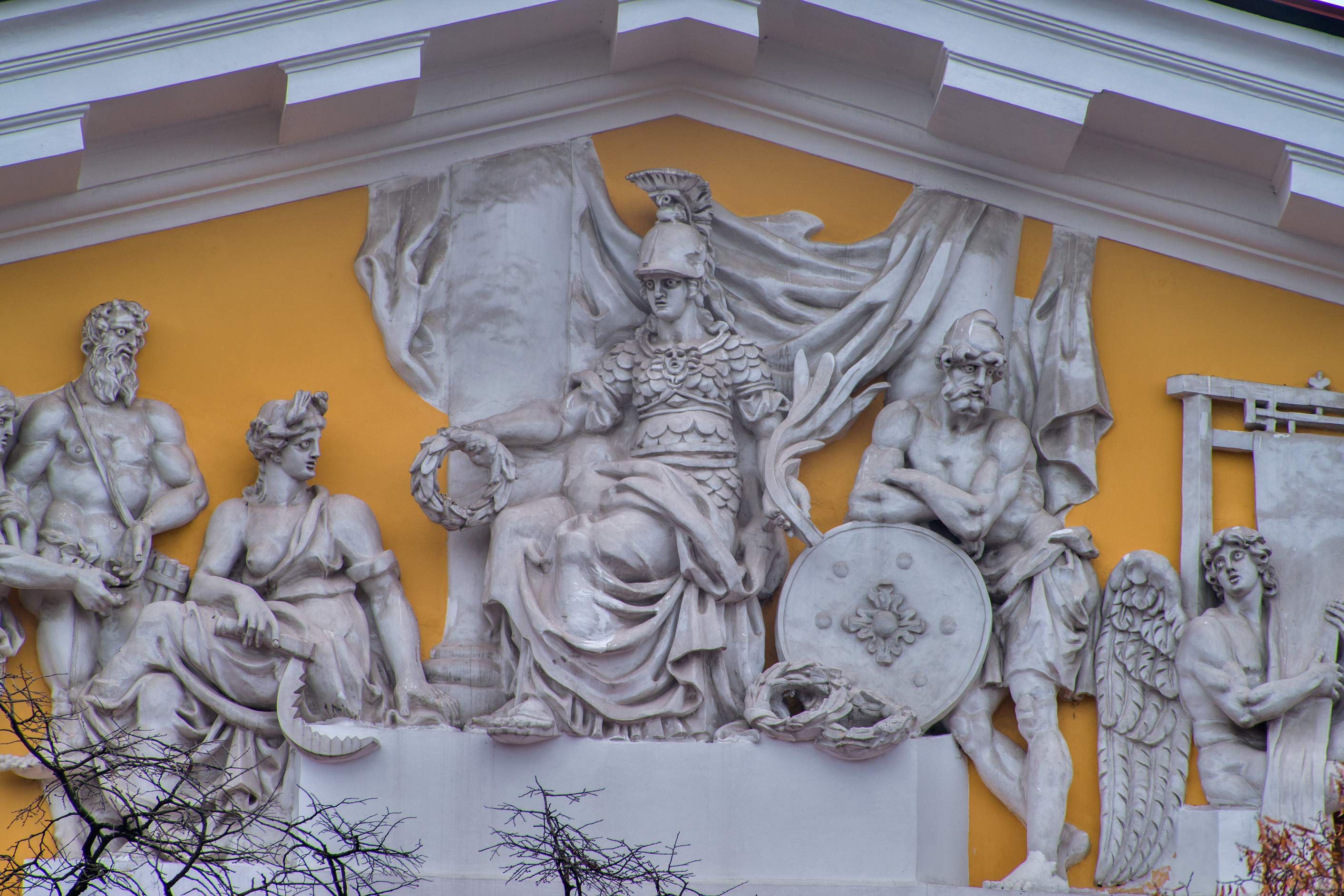 Pediment of Admiralty with figures of mythical heroes. St.Petersburg, Russia