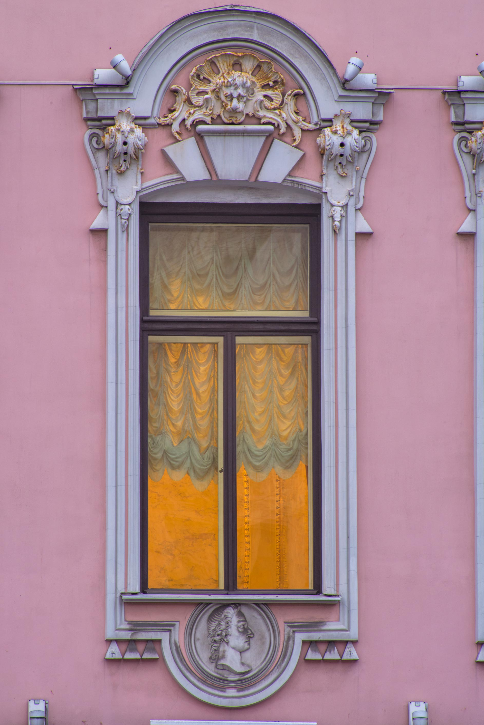 Window of Stroganov Palace near Moyka Rive on Nevsky Palace. St.Petersburg, Russia