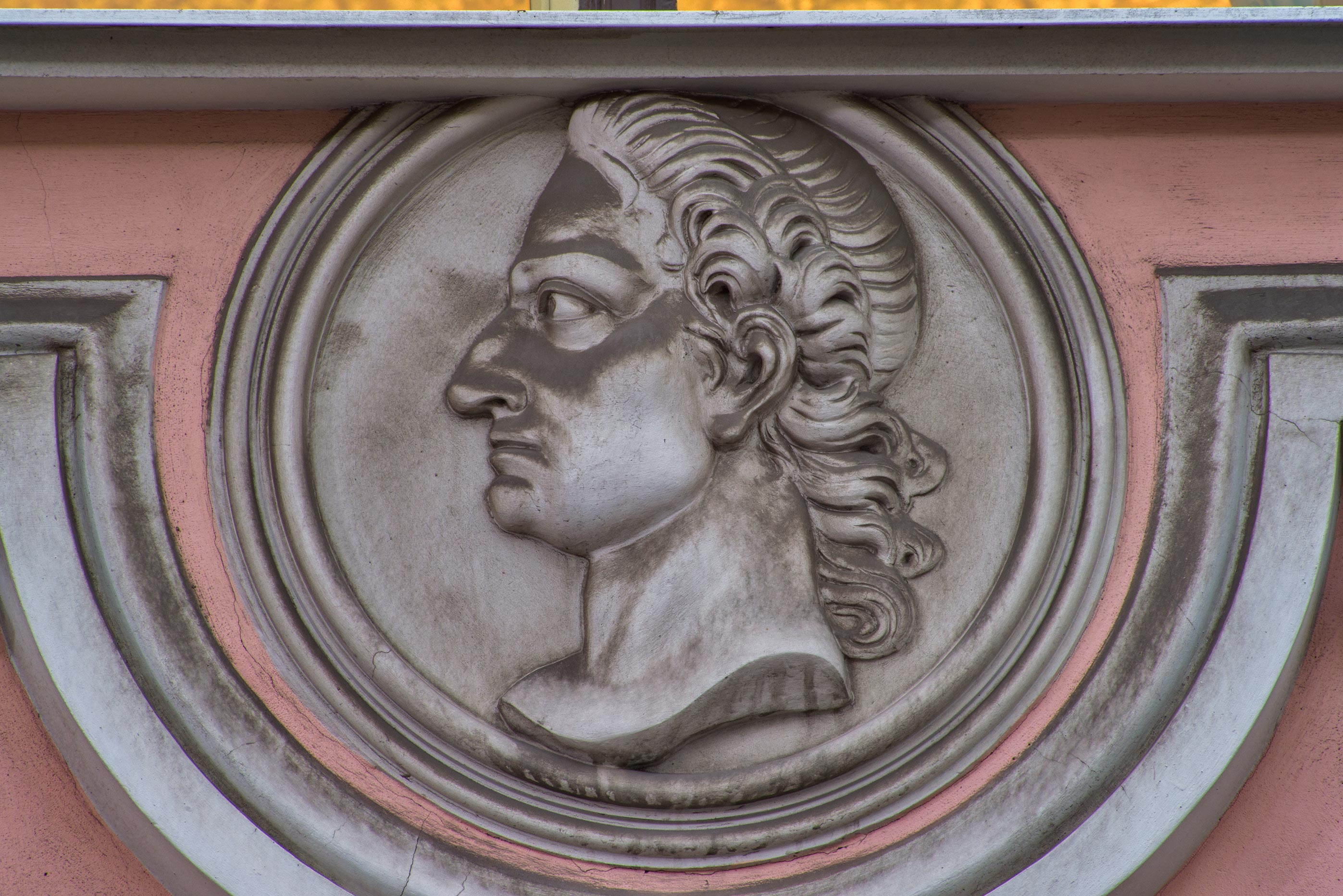 Dusty head of Peter the Great on Stroganov Palace...Nevsky Palace. St.Petersburg, Russia