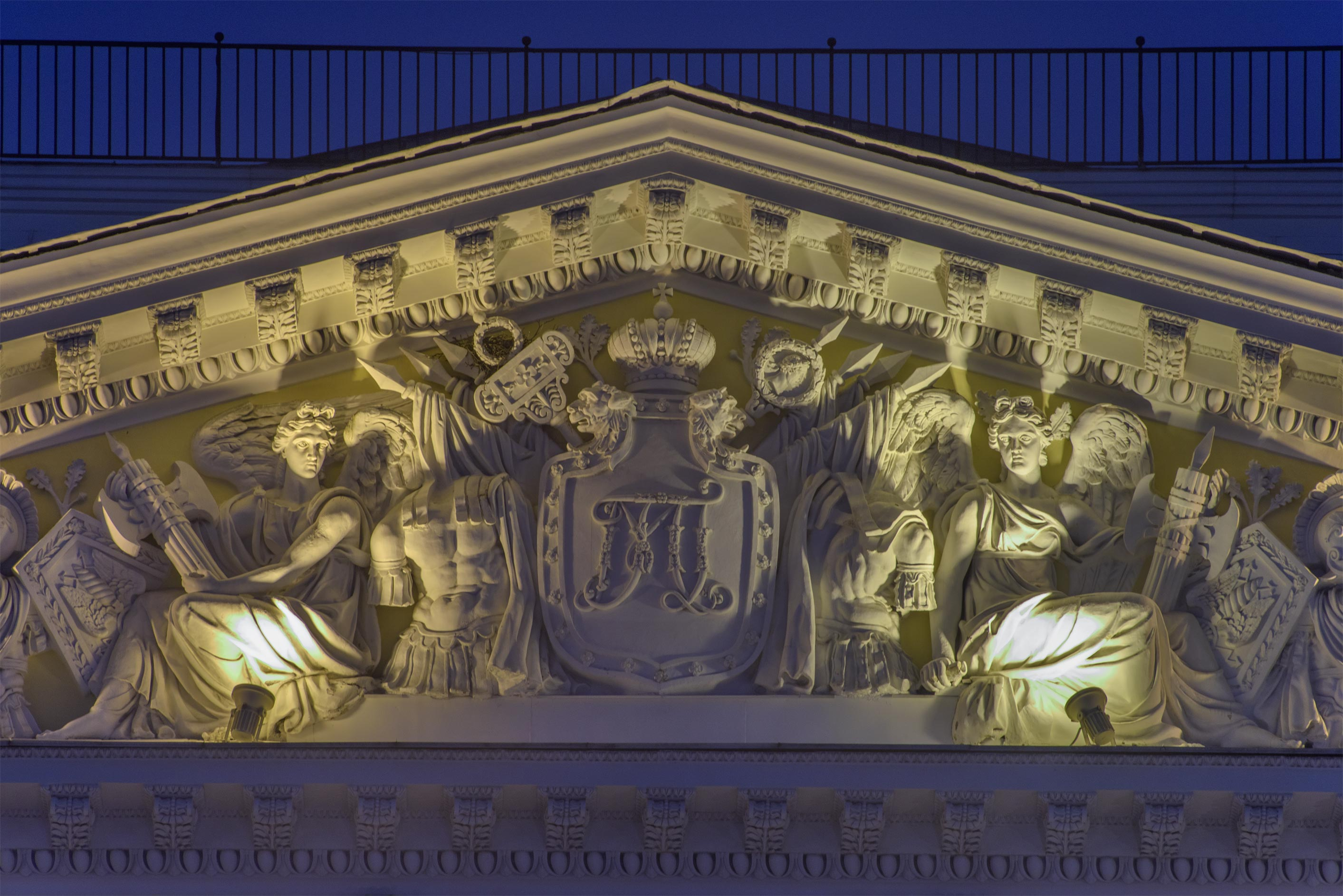 Pediment of Mikhailovsky Palace on Inzhenernaya St.. St.Petersburg, Russia