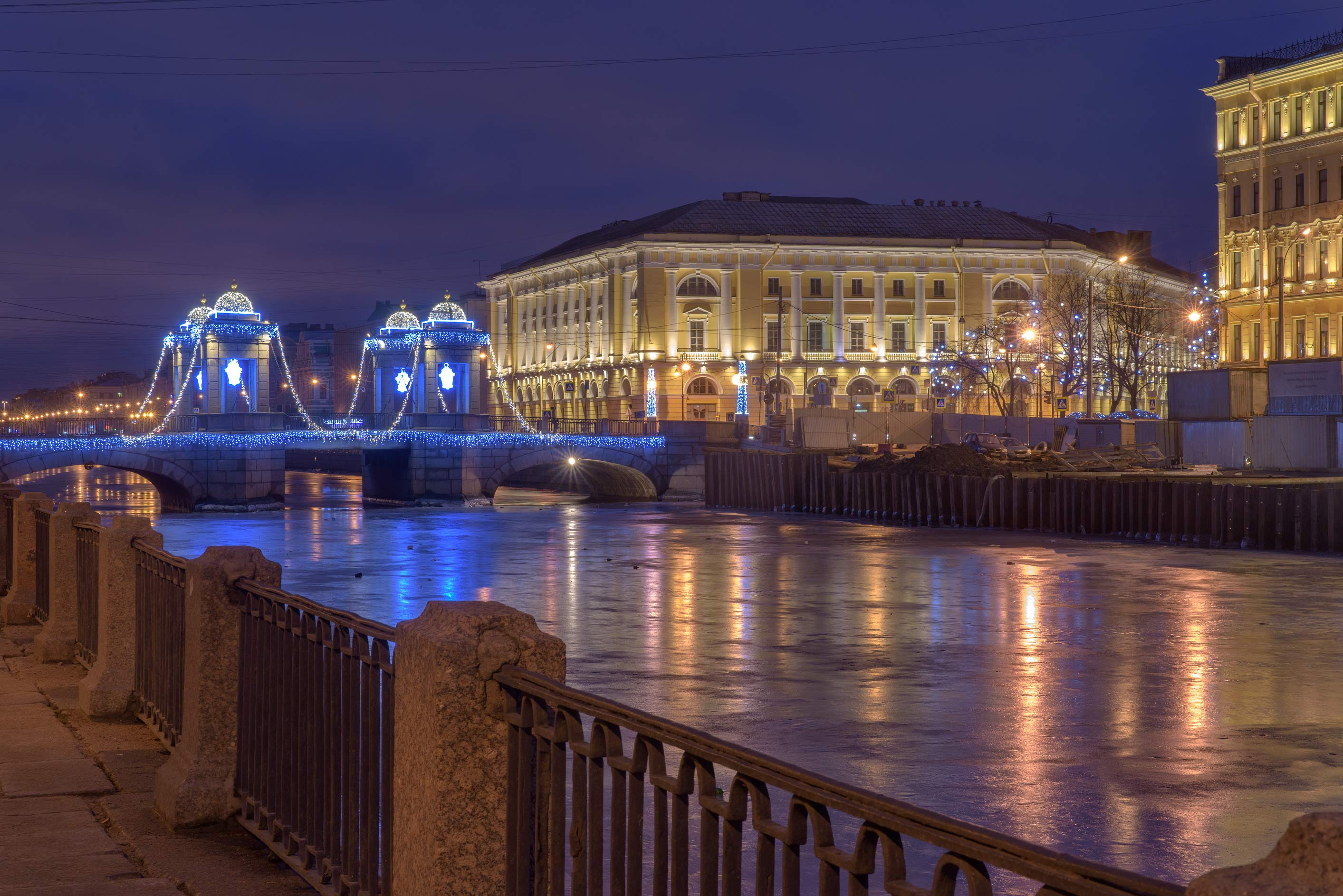 Lomonosov Bridge and Fontanka River at morning. St.Petersburg, Russia