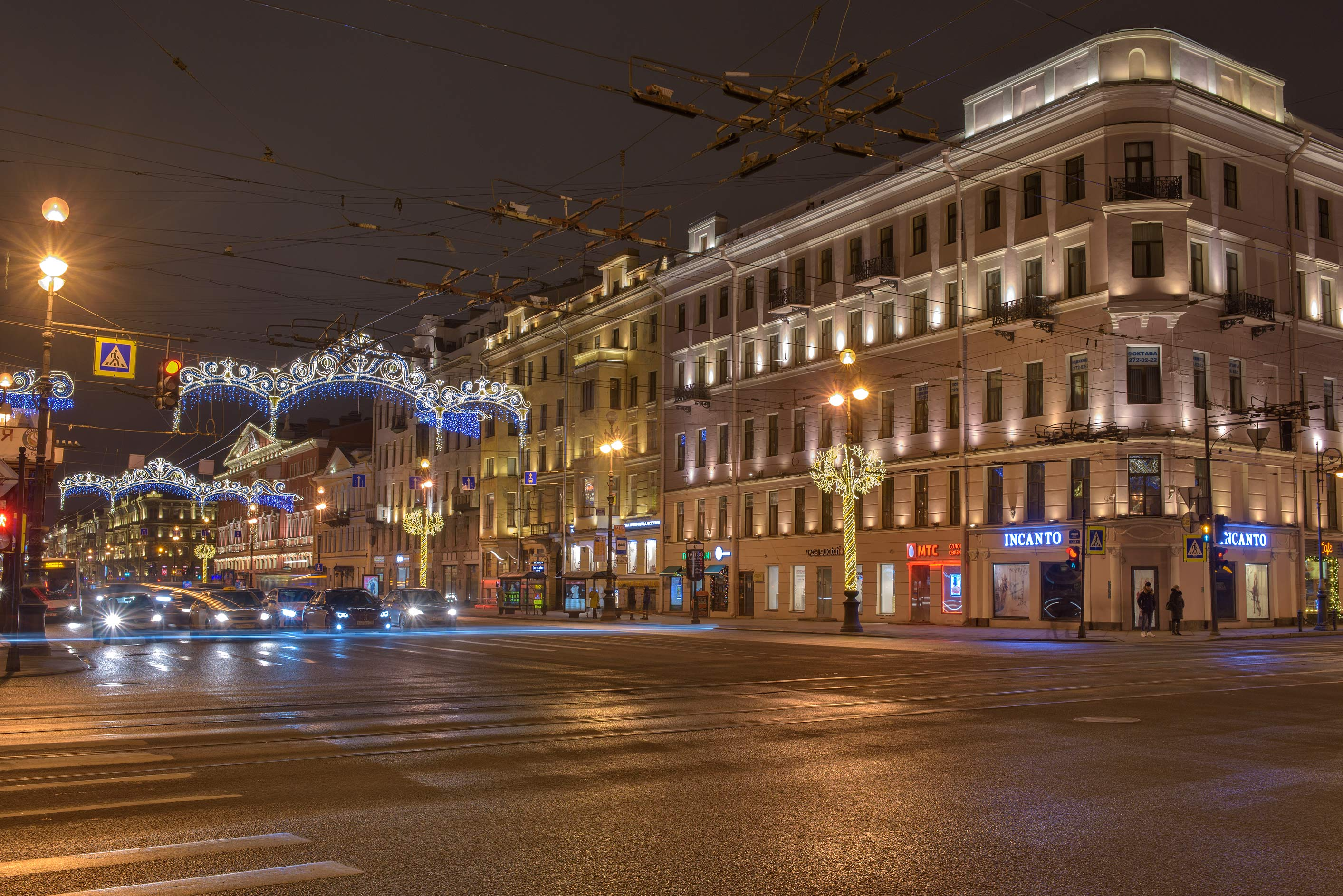 Crossing of Nevsky and Liteyny Prospect. St.Petersburg, Russia