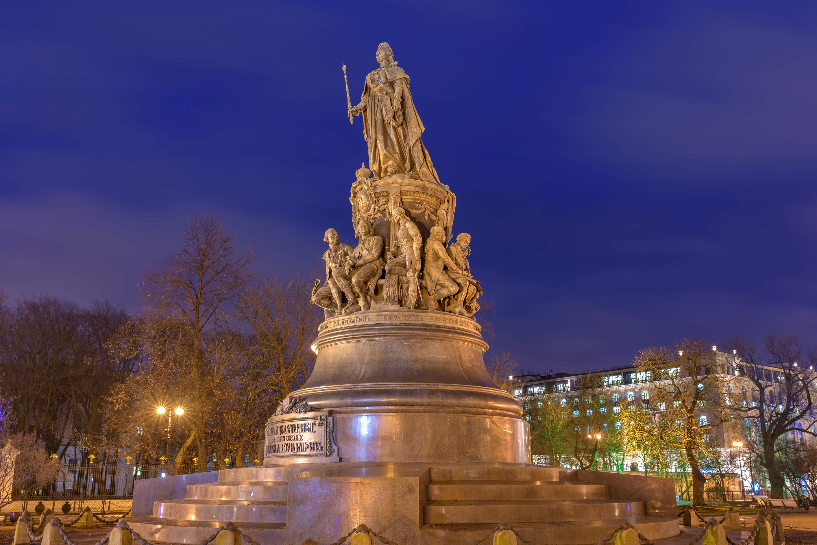 Catherine the Great monument on Ostrovskogo Square. St.Petersburg, Russia