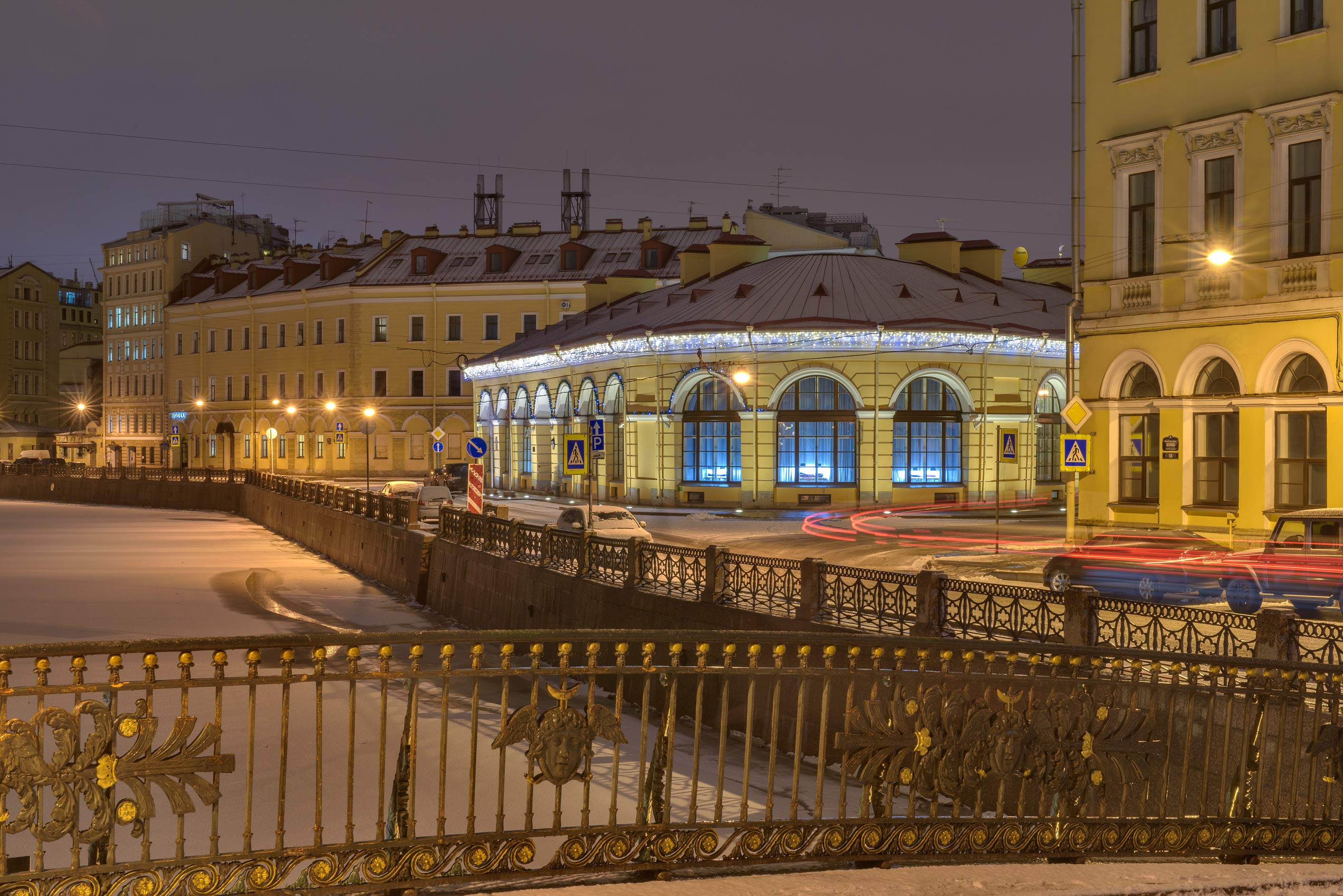 Round Market and Moyka River from Malo-Koniushenny Bridge. St.Petersburg, Russia