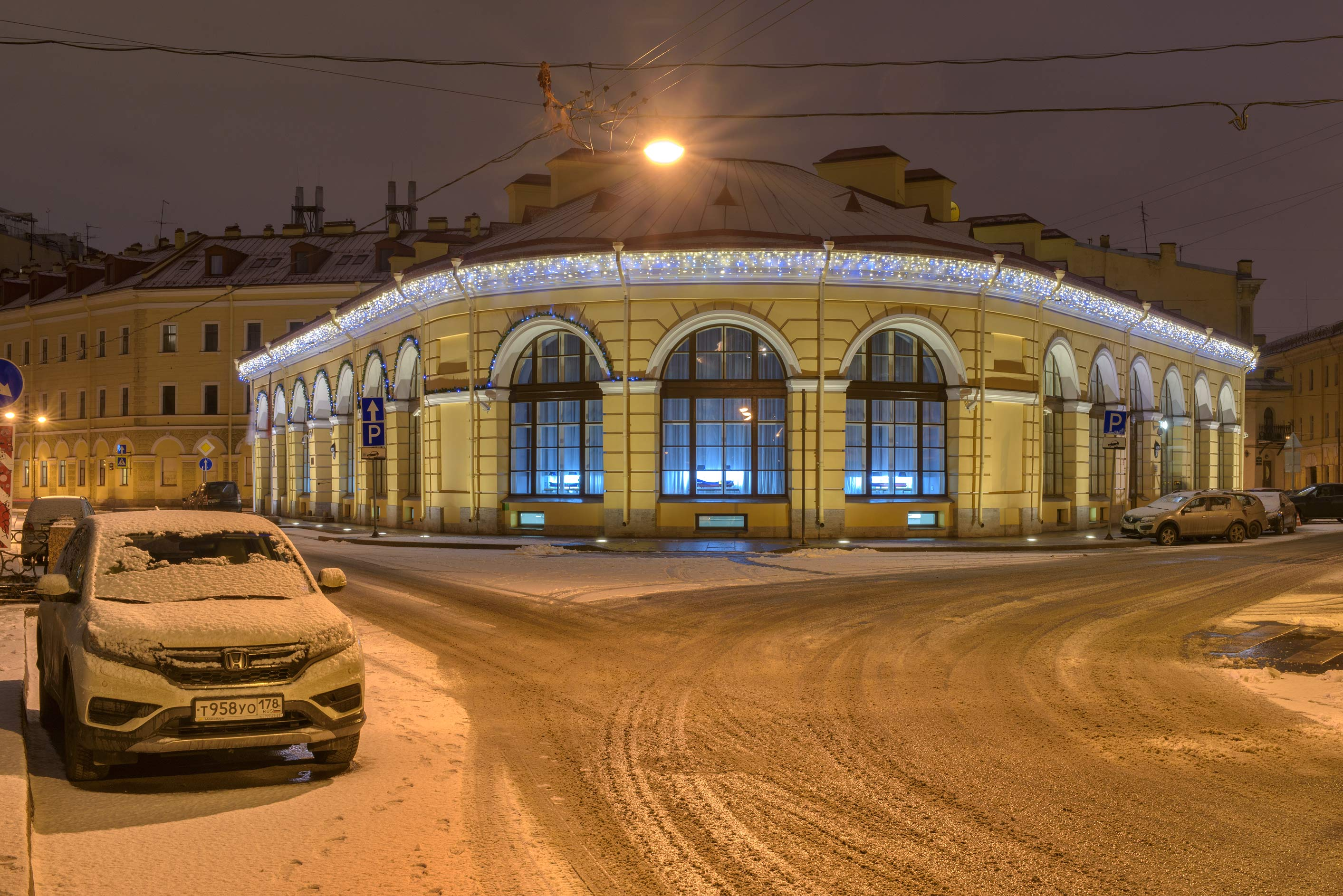 Round Market on Moyka River Embankment. St.Petersburg, Russia