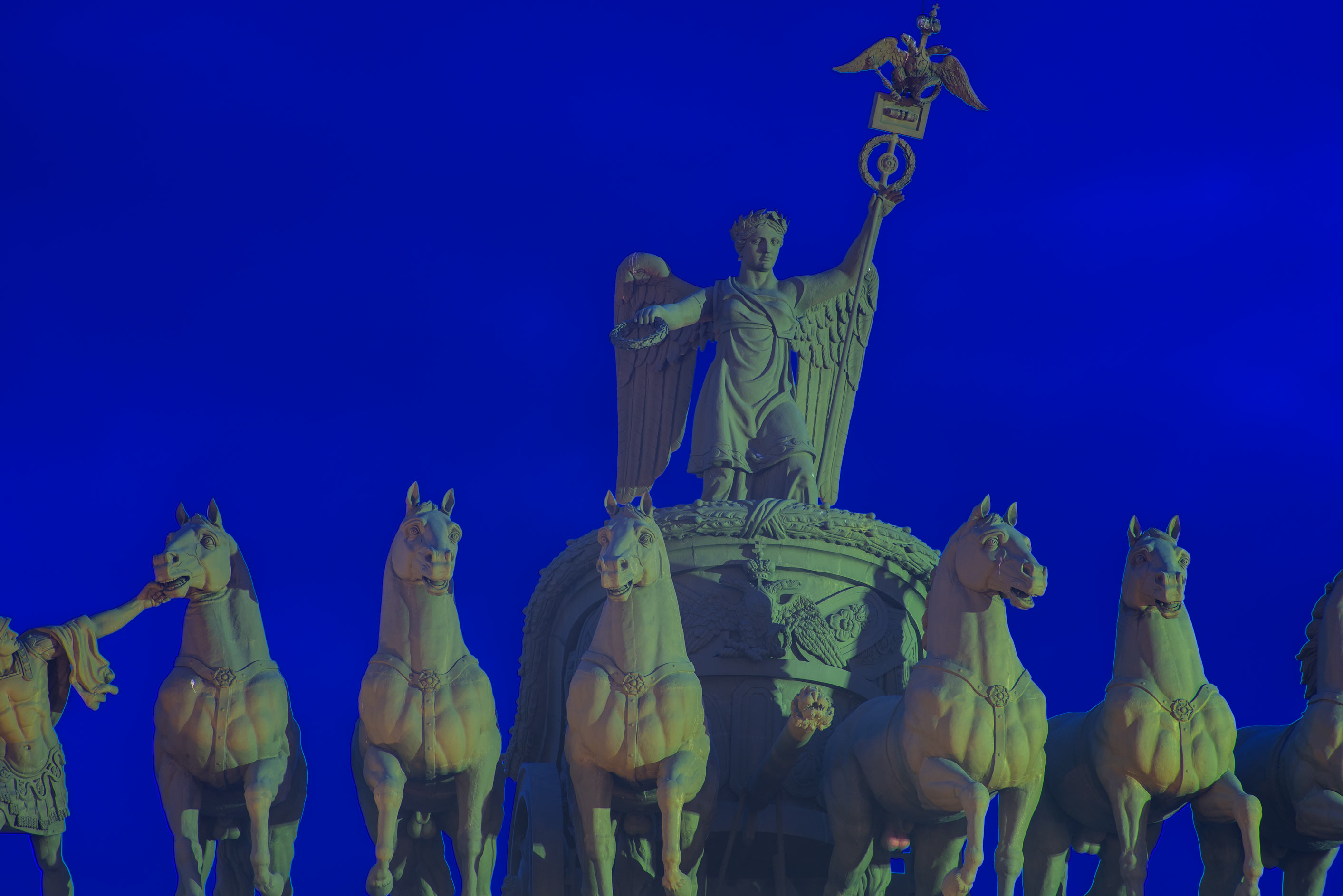 Group of horses on the arch of General Staff...Square. St.Petersburg, Russia