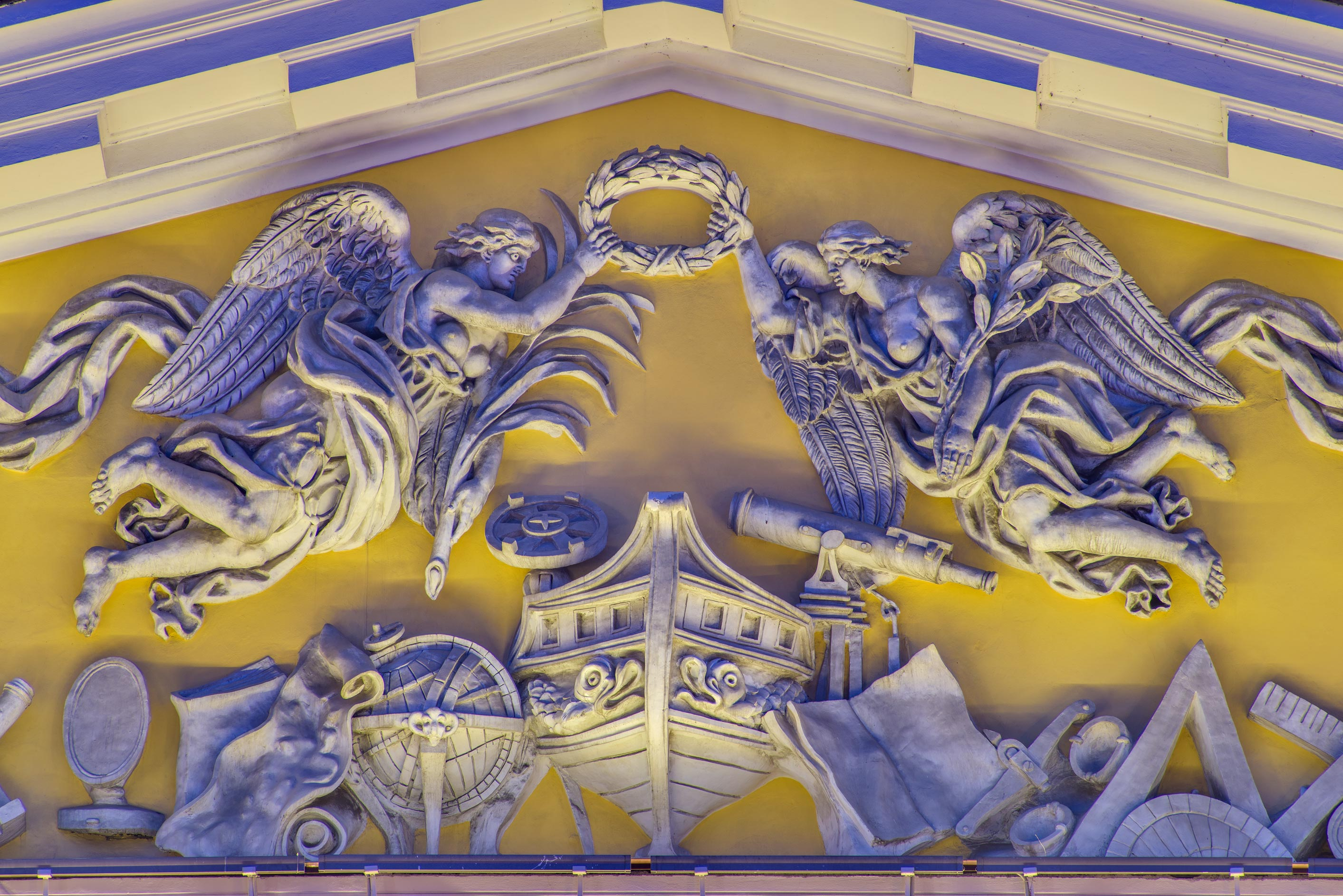 Easter pediment of Admiralty from Dvortsovy Proezd. St.Petersburg, Russia