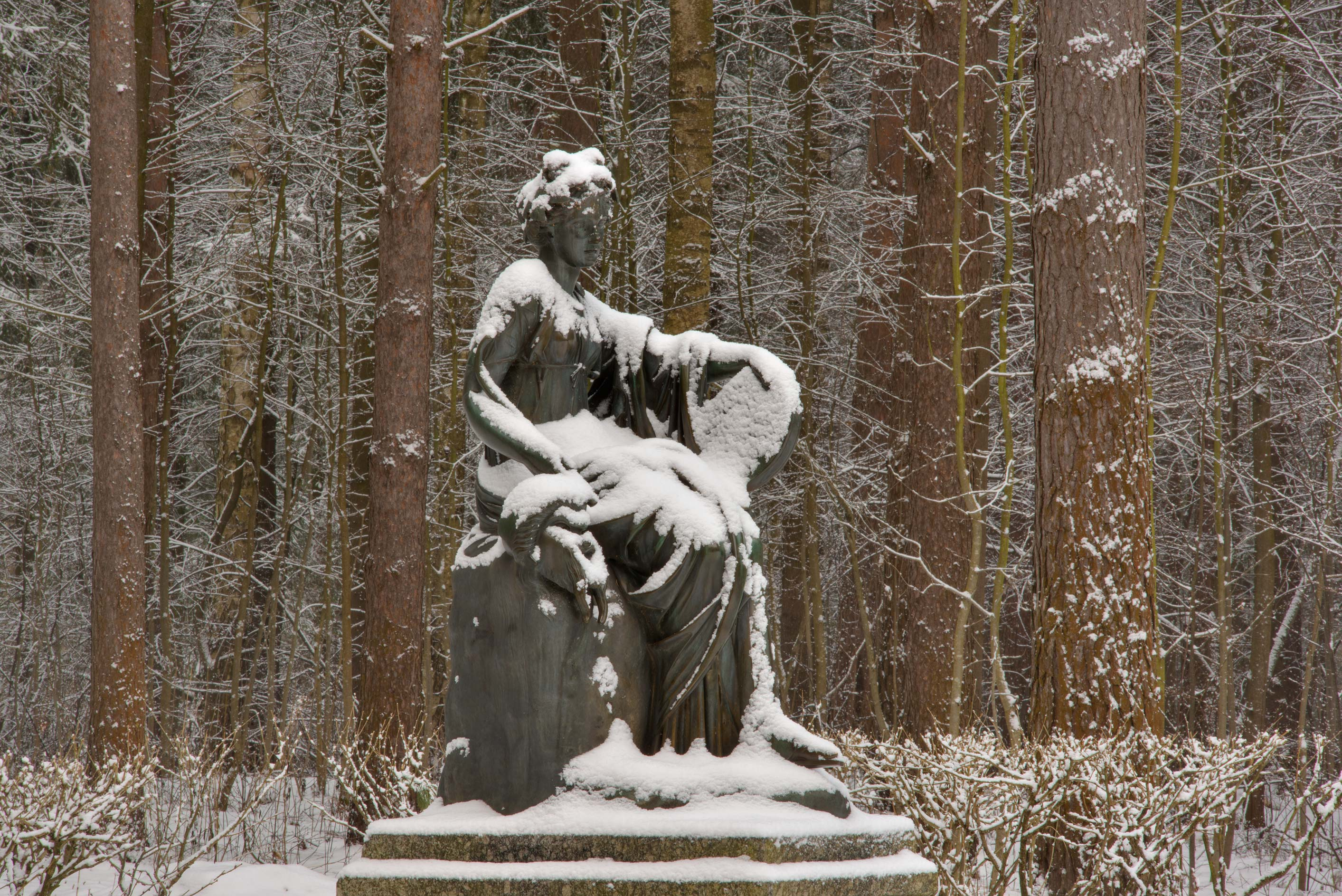 Sculpture of a Greek muse on Twelve Paths...suburb of St.Petersburg, Russia