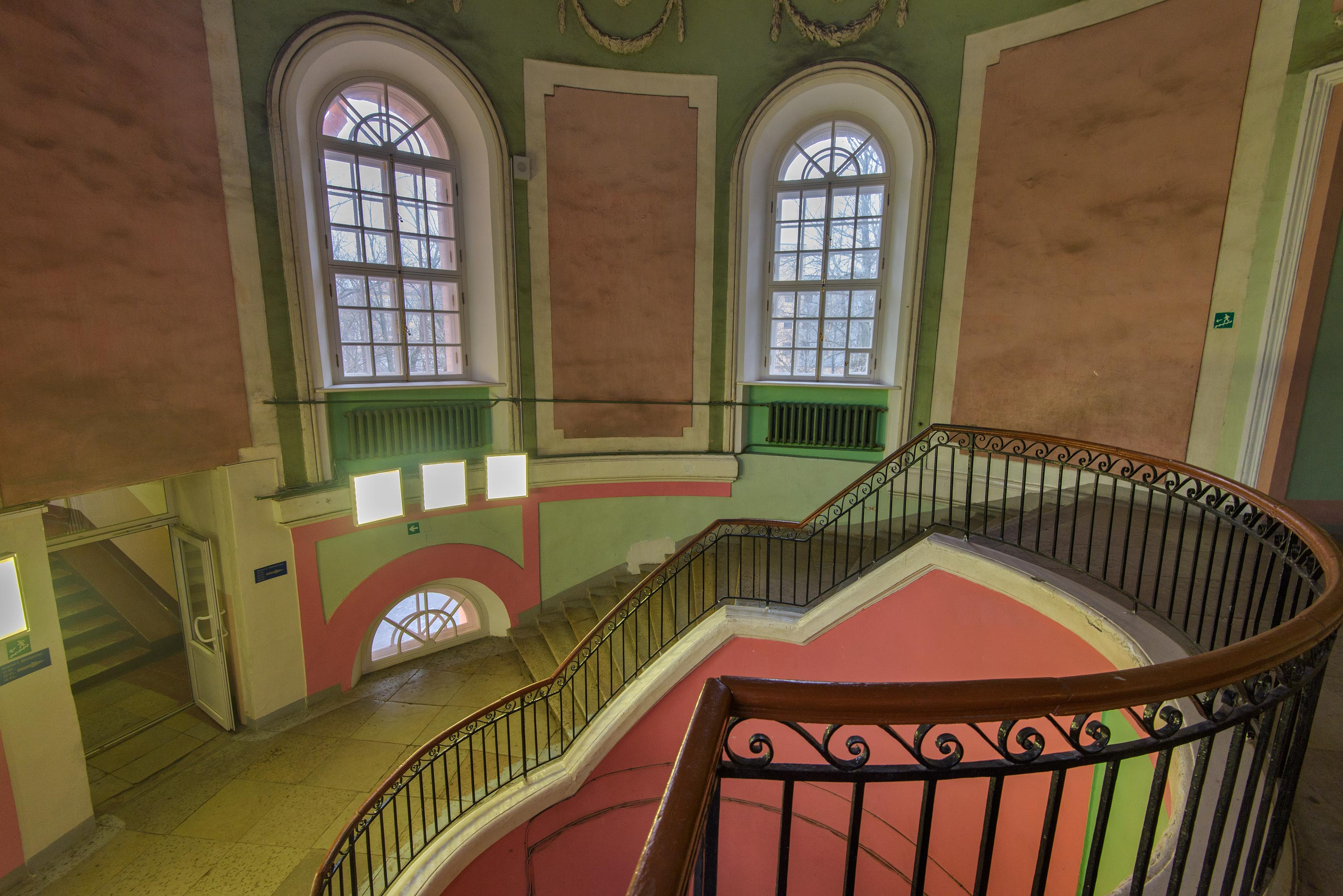 Upper landing of circular stairs of Chesmensky...on Gastello St.. St.Petersburg, Russia