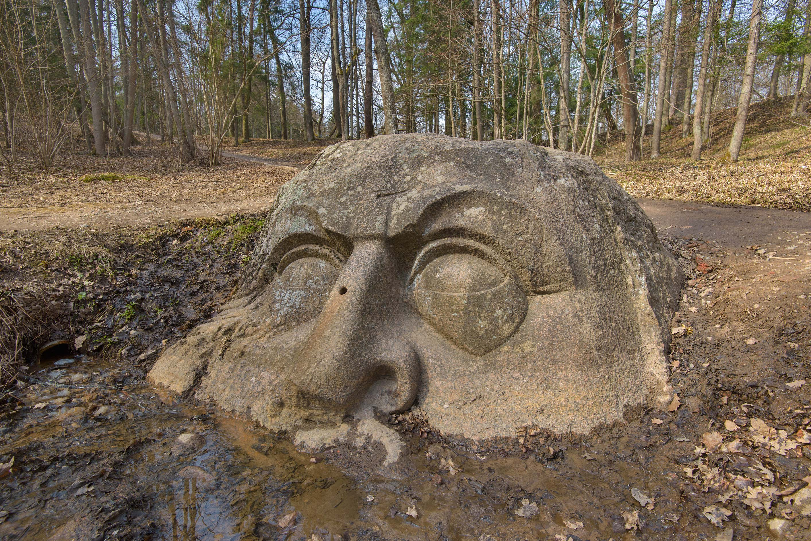 Stone head made from a boulder with a spring in...west from St.Petersburg, Russia
