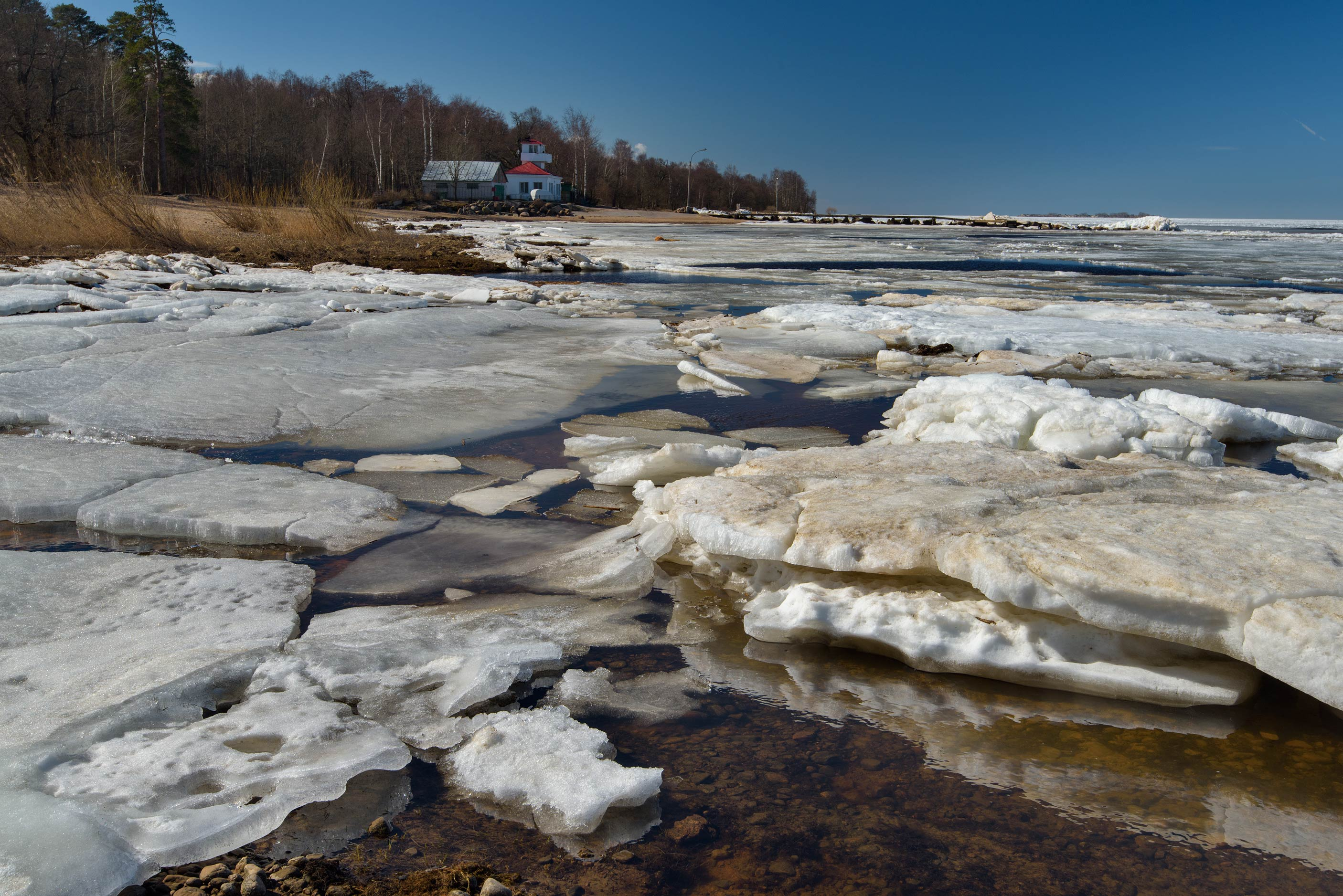 Melting ice in Gulf of Finland near a coast guard...west from St.Petersburg. Russia