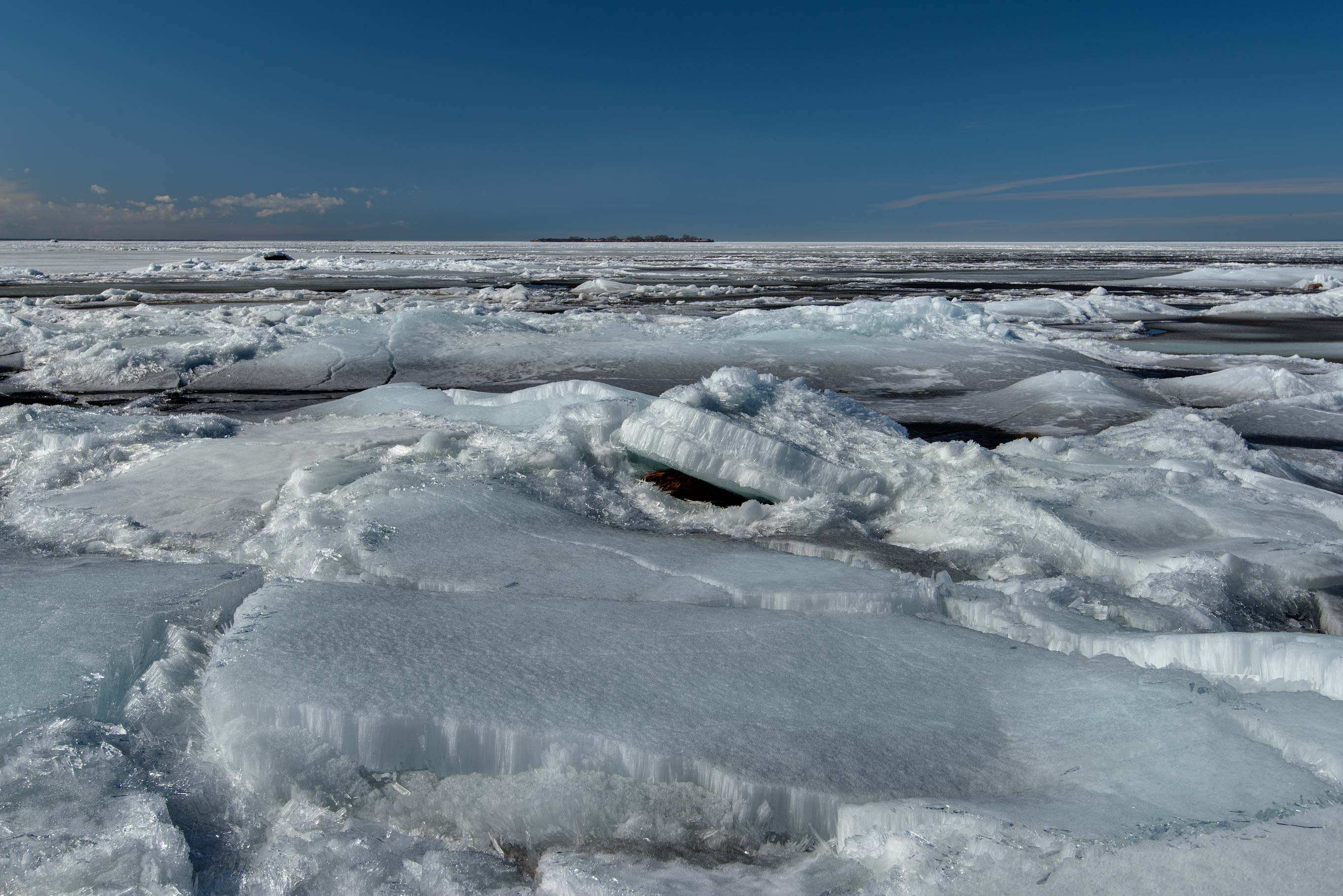 Icy Gulf of Finland near near Dubki Park in Sestroretsk, west from St.Petersburg. Russia