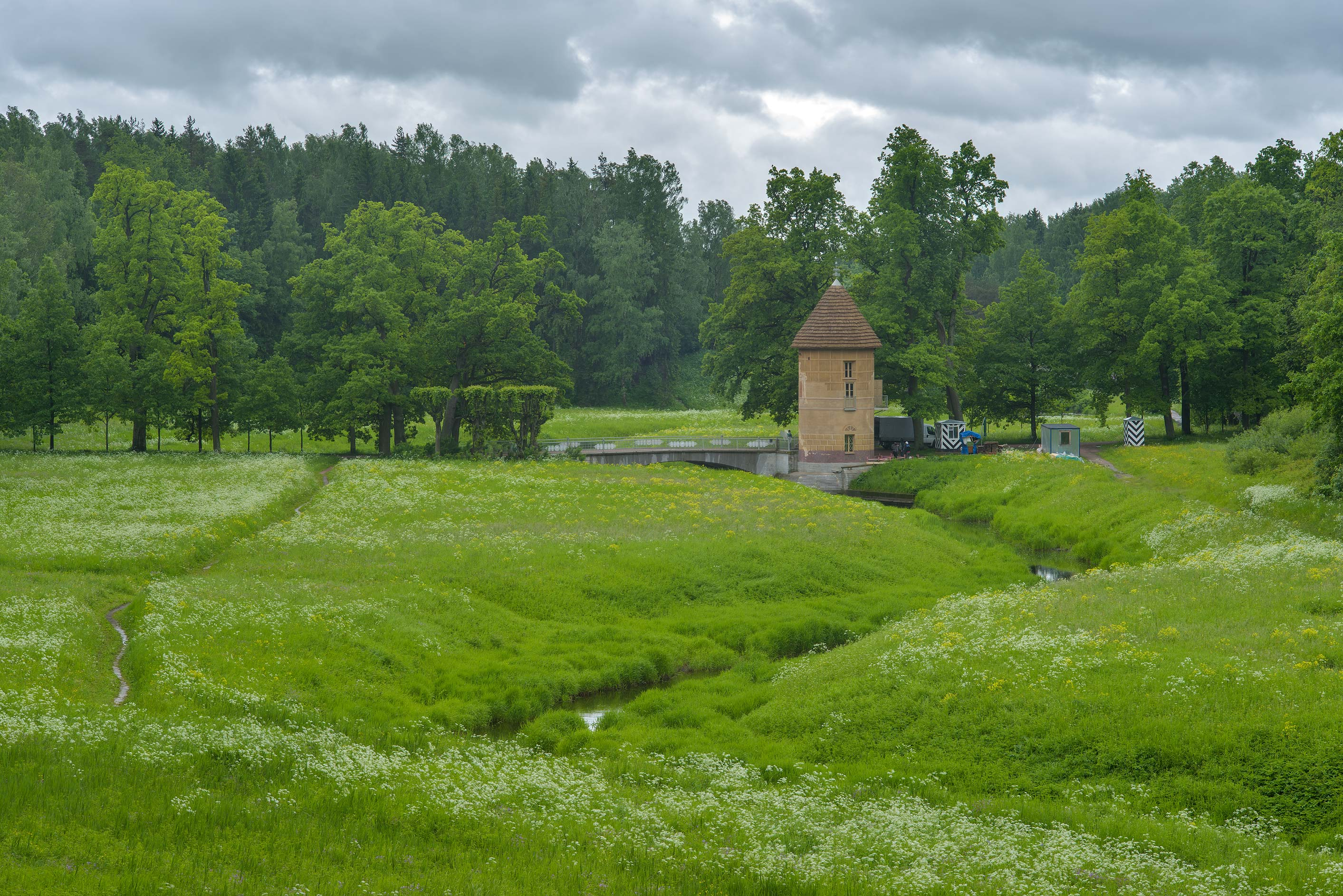 Pil Basnia Tower at Slavyanka River in Pavlovsk...a suburb of St.Petersburg, Russia