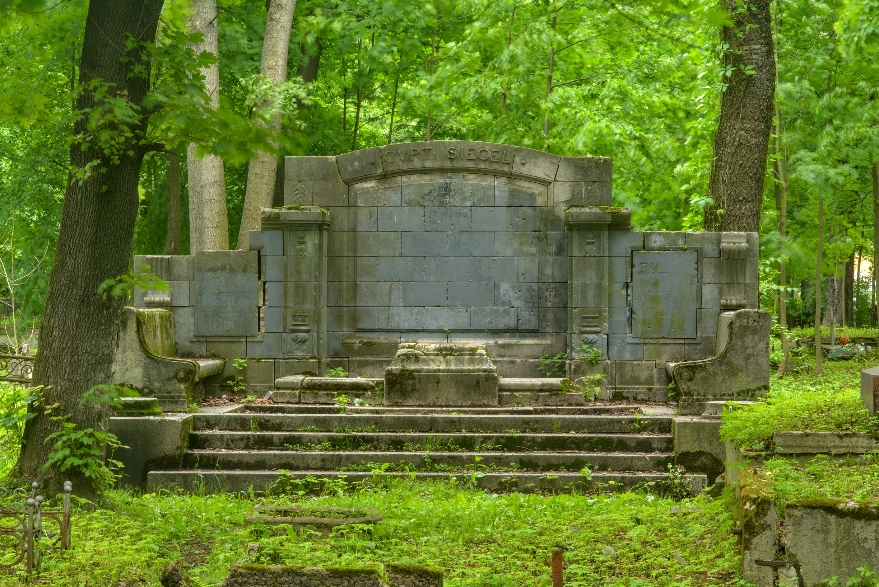 Amphitheater like tomb in Smolenskoe Cemetery of...Island. St.Petersburg, Russia