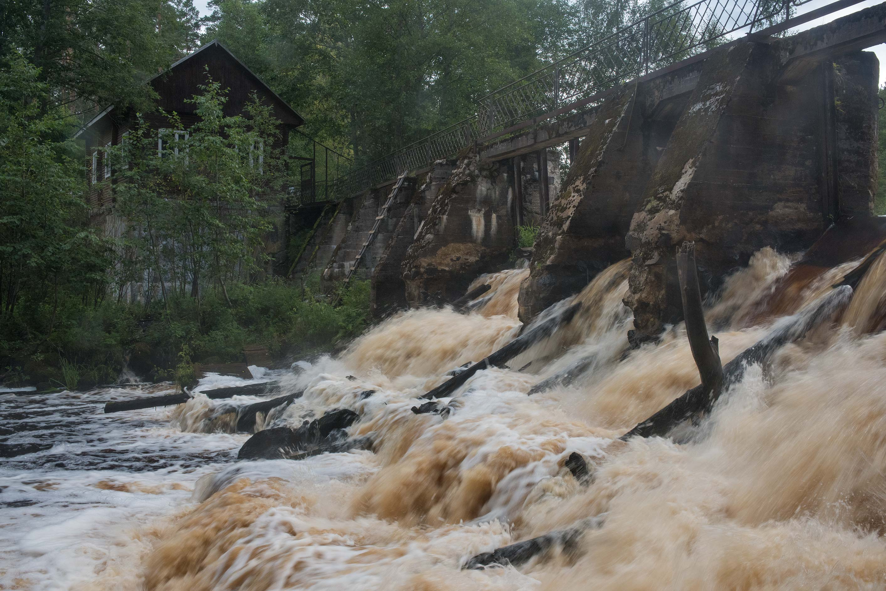 Dam of Volchya River after heavy rains in...miles north from St.Petersburg. Russia