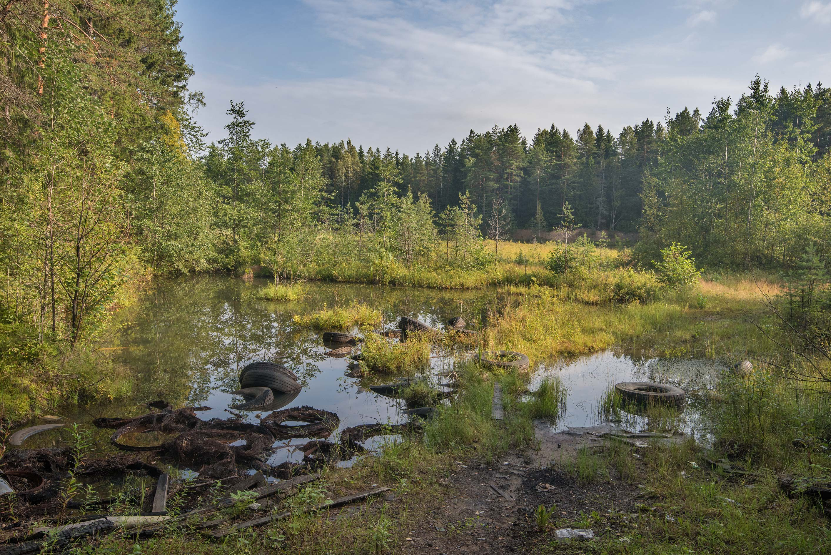 A pond with tires near Rappolovo and Toksovo, north from St.Petersburg. Russia