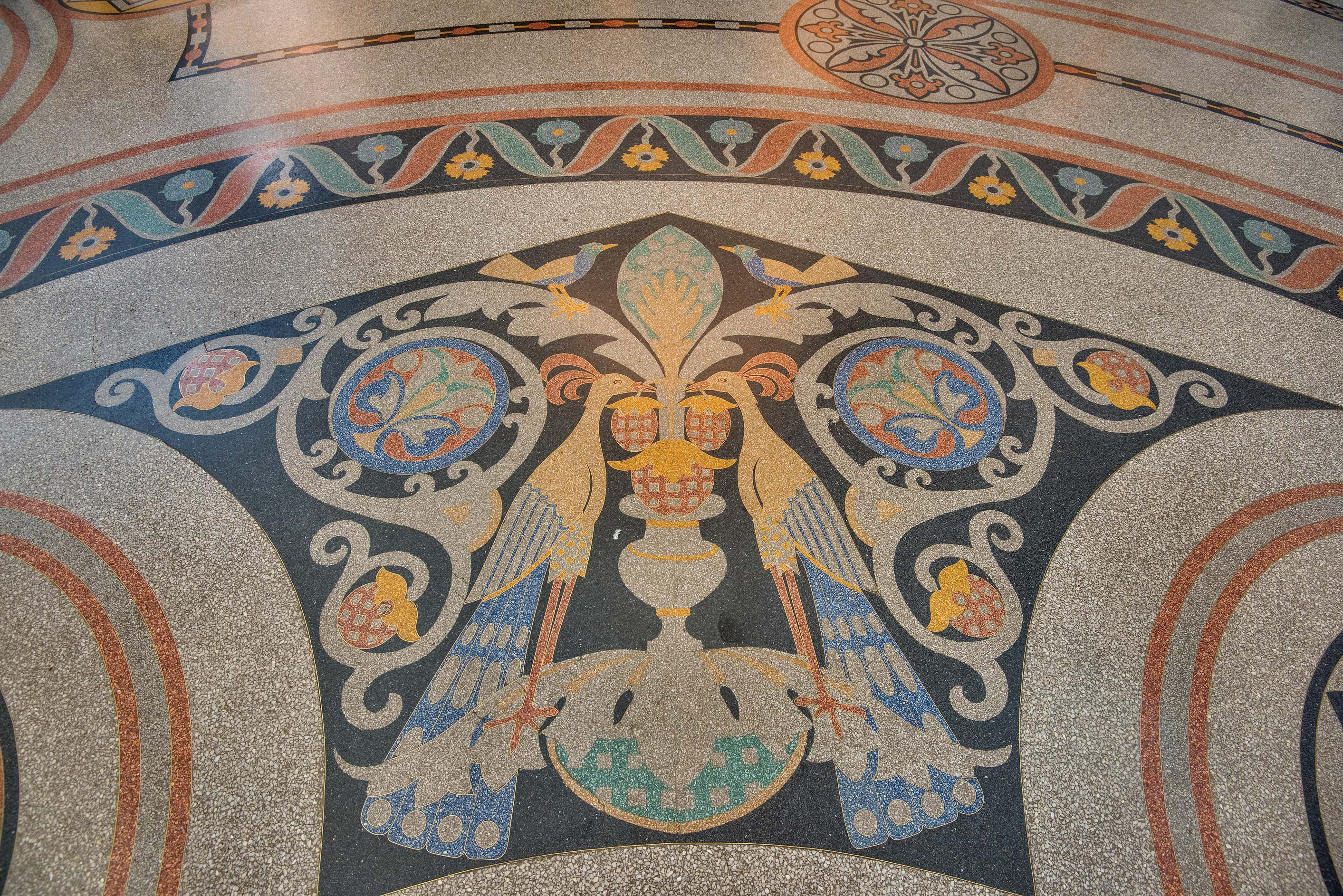 Stone mosaic on the floor of Naval Cathedral of...in Kronstadt. St.Petersburg, Russia