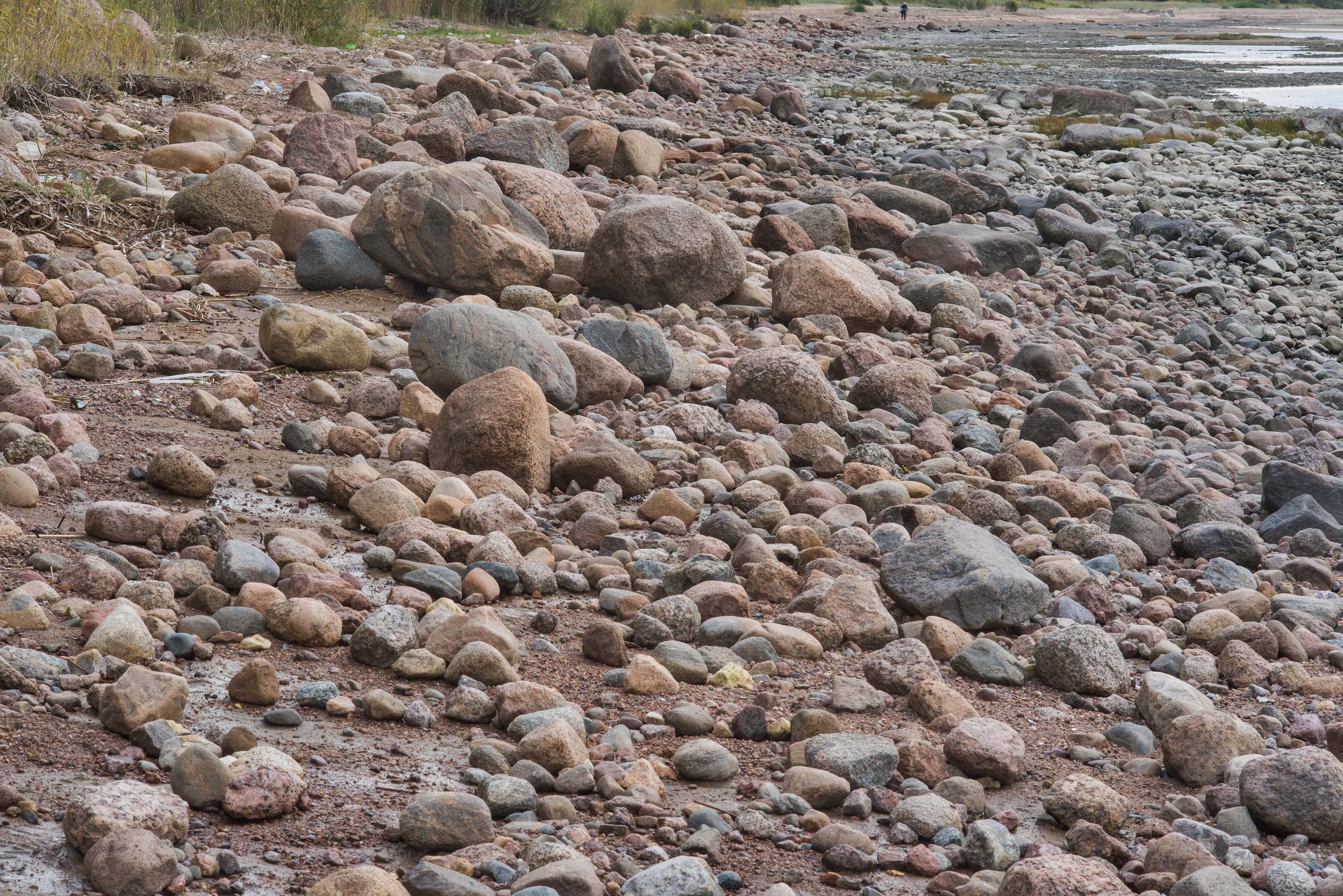 Granite stones on a beach of Gulf of Finland in...west from St.Petersburg. Russia