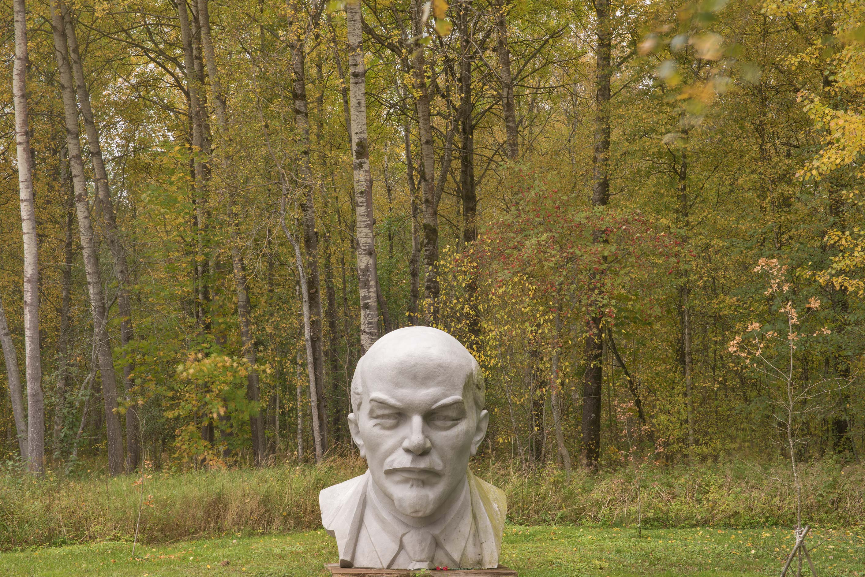 Fall colors around a stone head of Russian...north-west from St.Petersburg. Russia