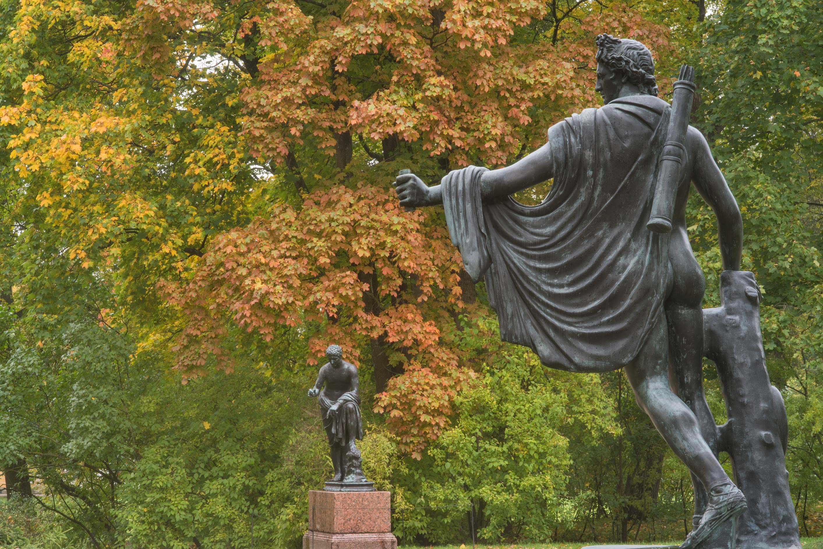 Bronze statue on Granite Terrace in Catherine...south from St.Petersburg, Russia