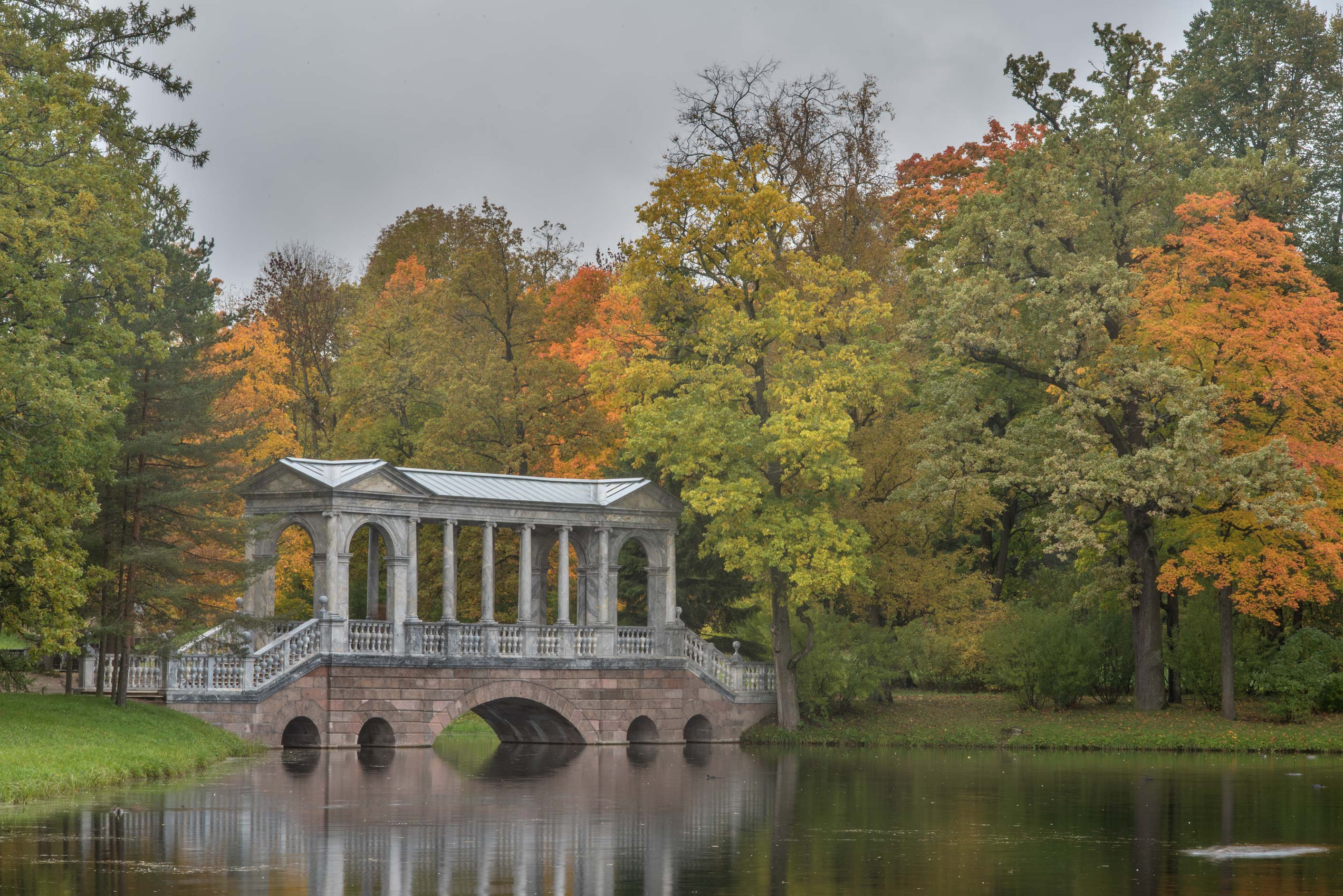Marble Bridge in west area of Big Pond in...south from St.Petersburg, Russia