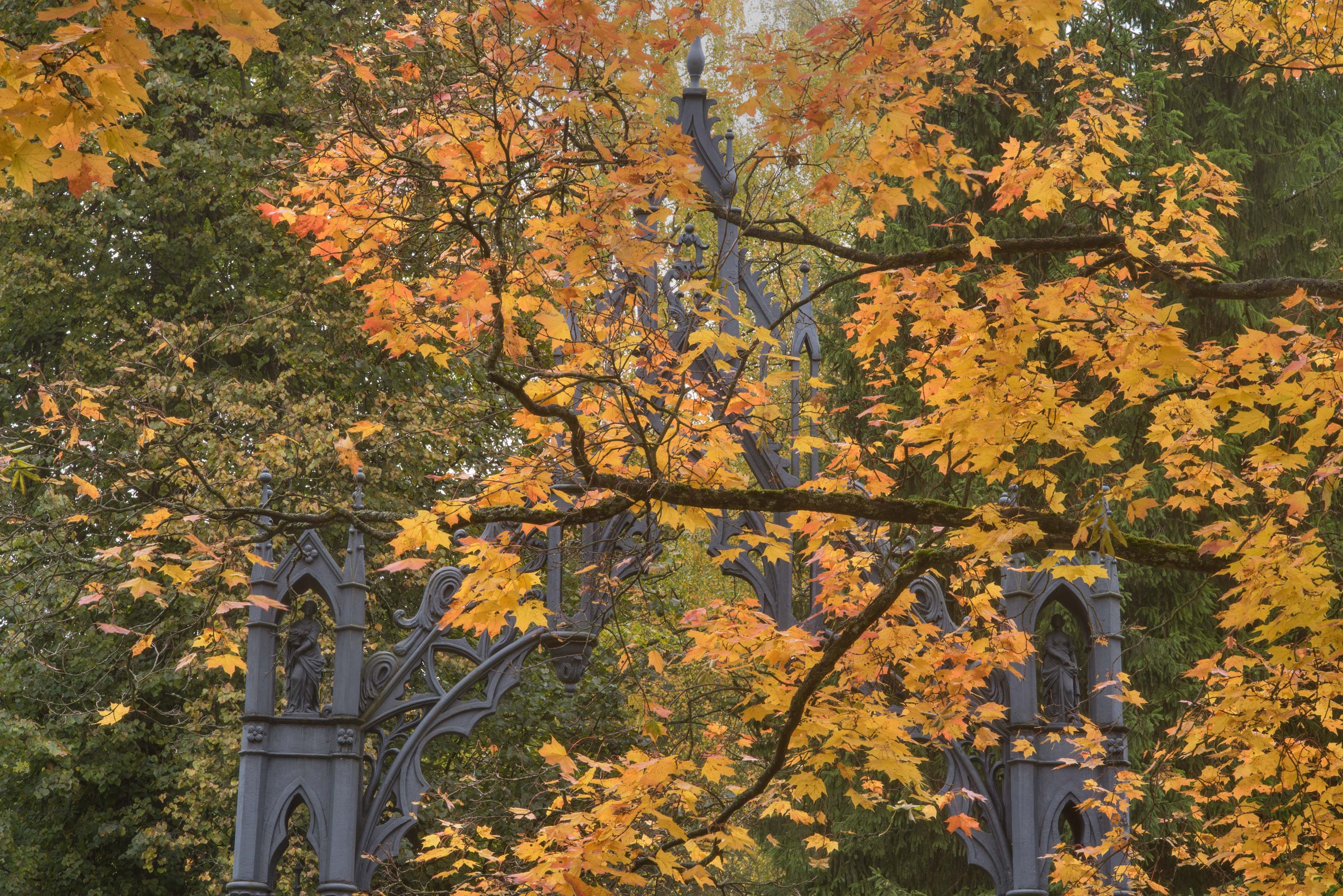 Gothic gate in Catherine Park. Pushkin (former...south from St.Petersburg, Russia