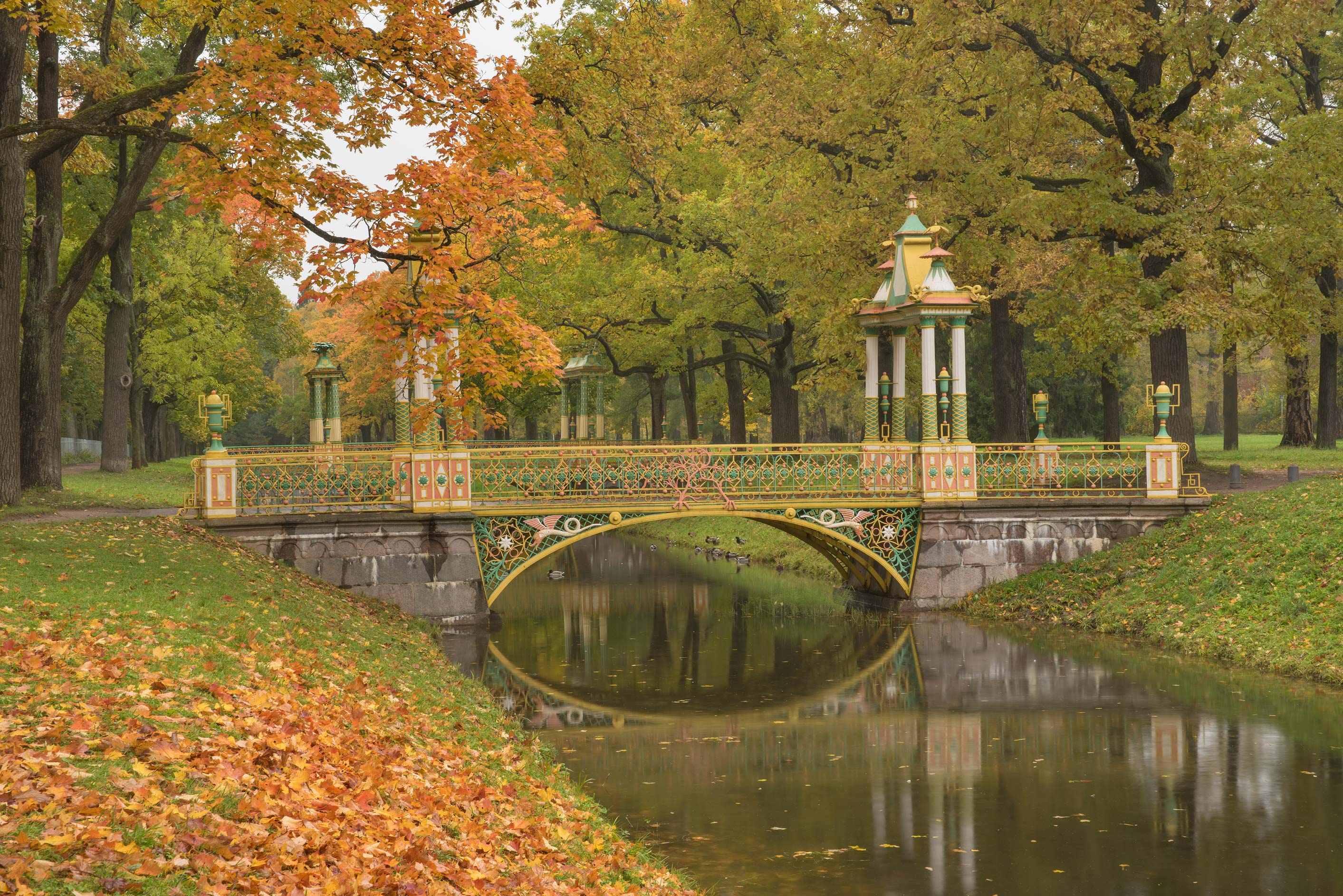 Chinese bridges in Alexander Park. Pushkin...south from St.Petersburg, Russia