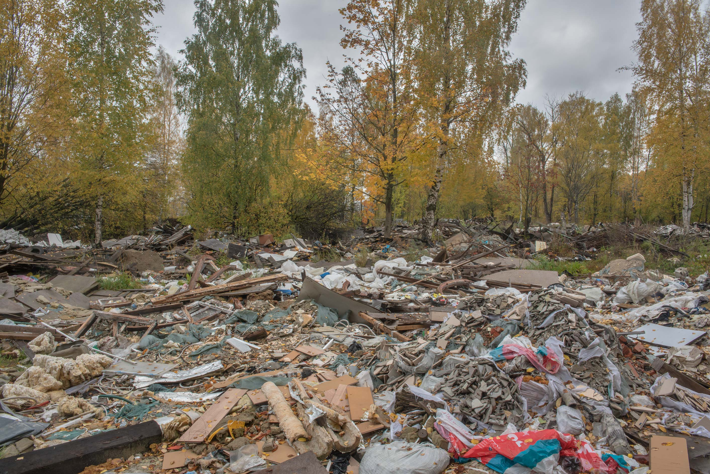 Demolished garages in area of former prisoner of...Sosnovka Park. St.Petersburg, Russia