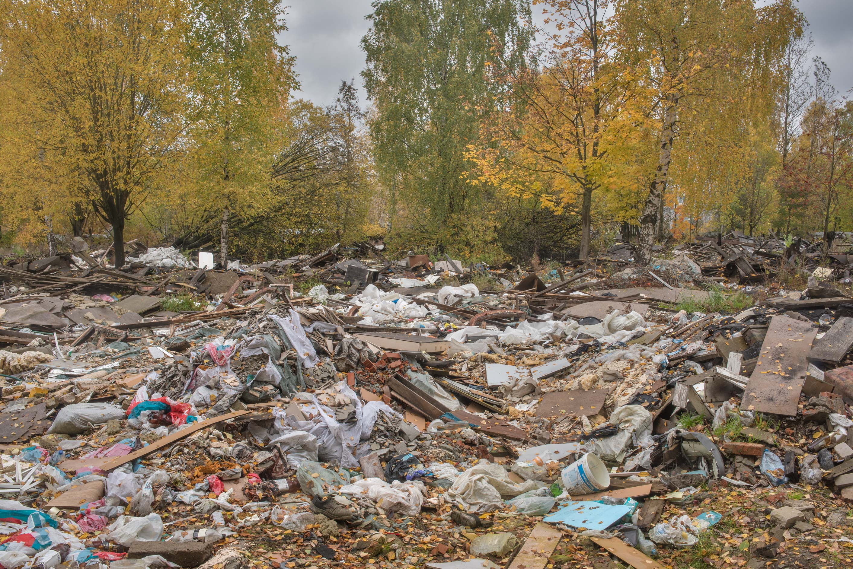 Autumn view of demolished garages in area of...Sosnovka Park. St.Petersburg, Russia