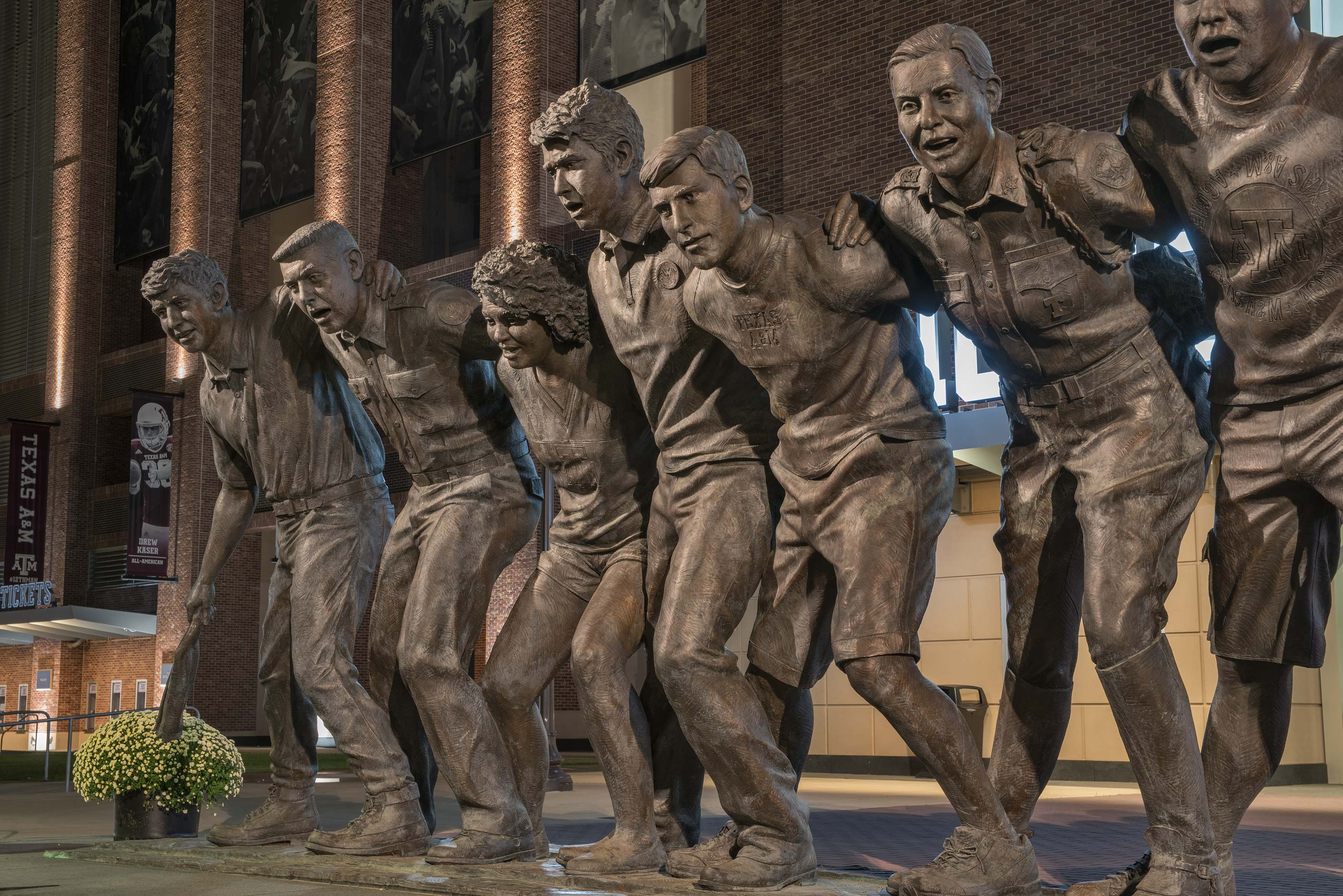 Bronze figures of 12 students on War Hymn Statue...A&M University. College Station, Texas