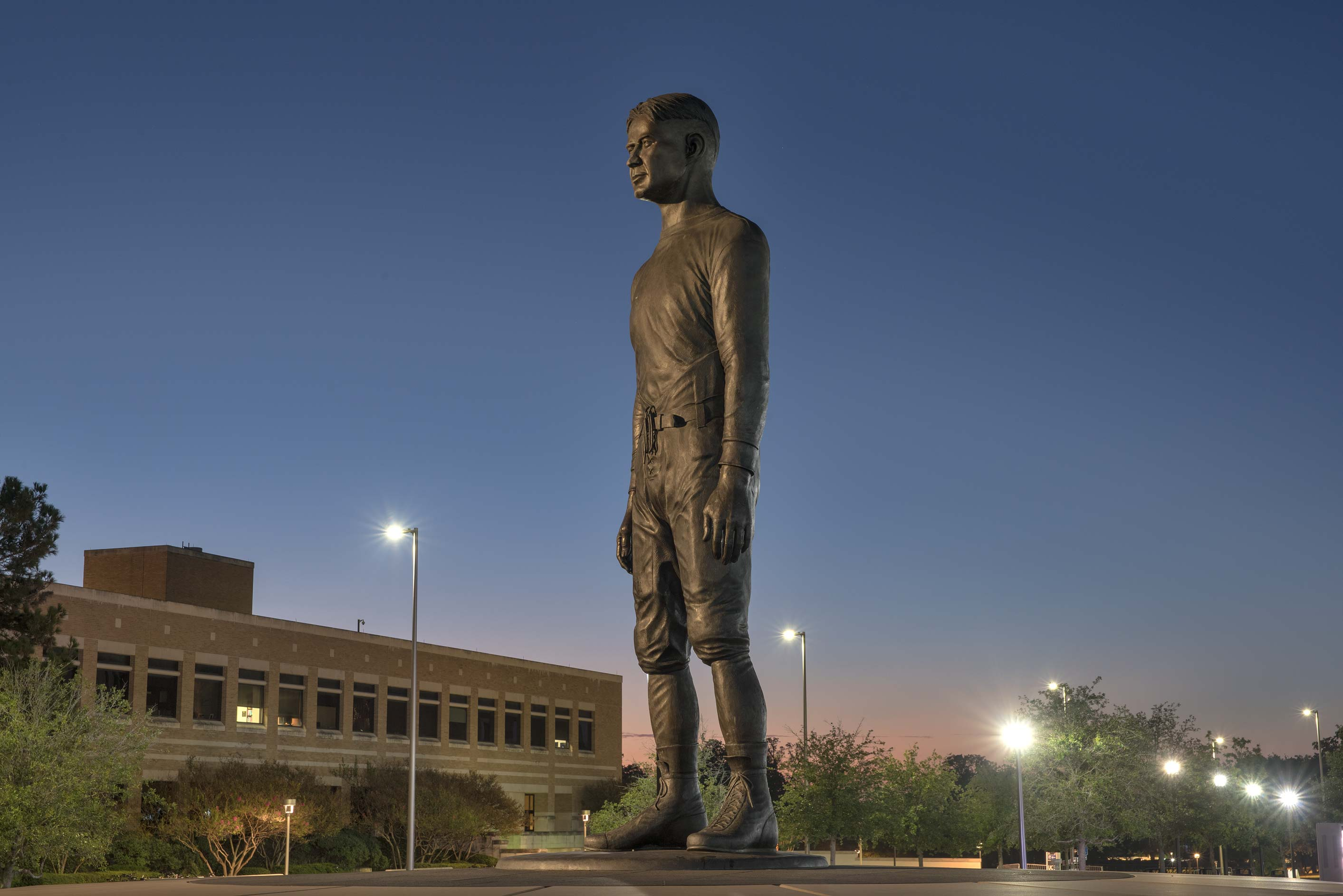 Yell Leader Monument near Kyle Field on campus of...A&M University. College Station, Texas