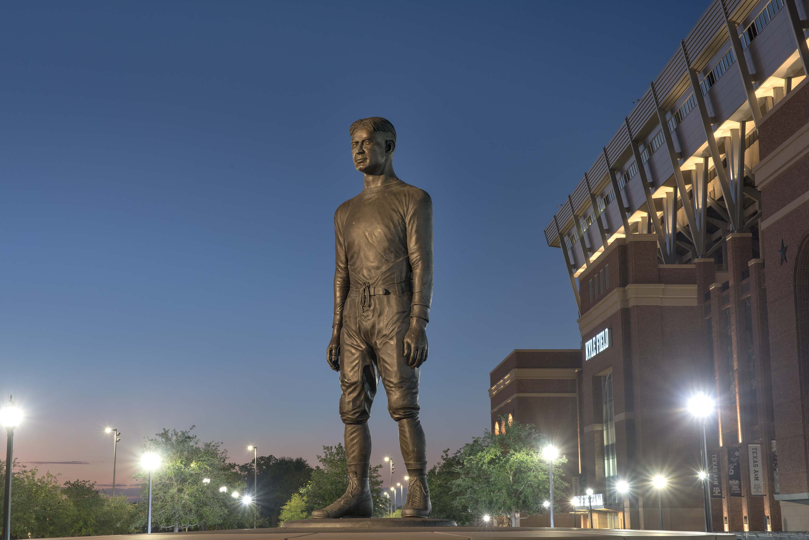 12th Man statue near Kyle Field on campus of Texas A&M University. College Station, Texas