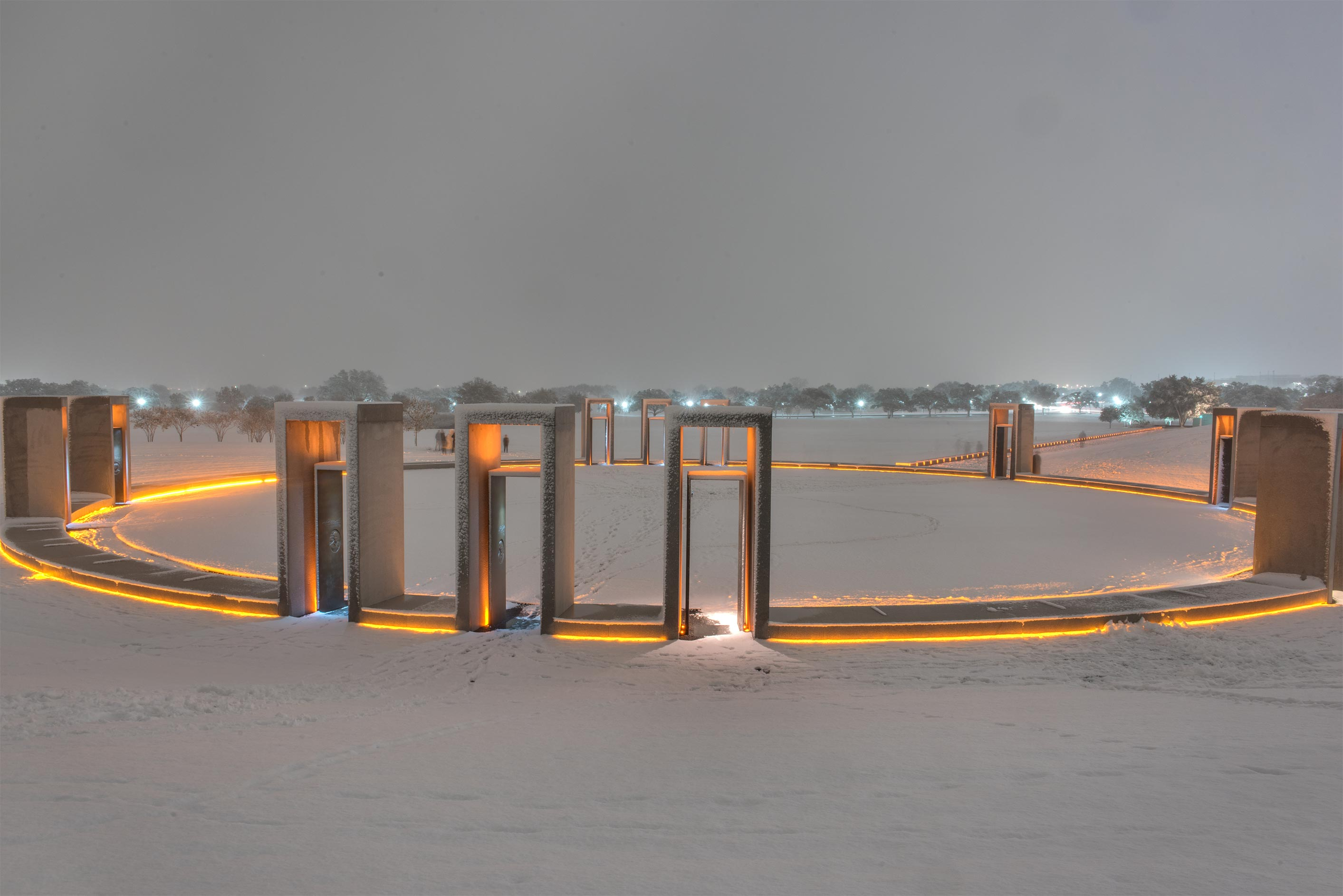Spirit Ring of Bonfire Memorial in snow on campus...M University. College Station, Texas