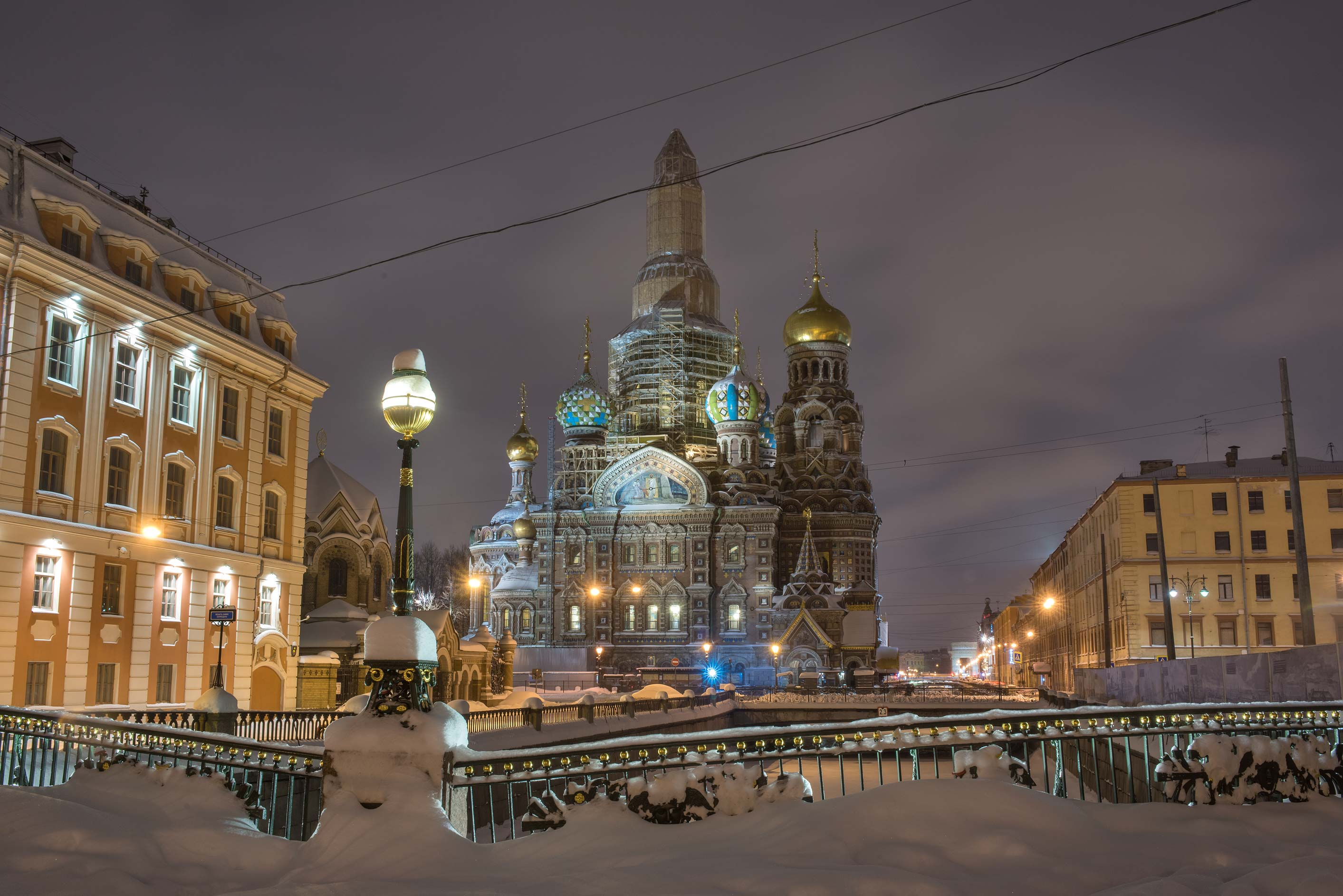 Novokonyushenny Bridge and Church of Savior on...Moyka River. St.Petersburg, Russia