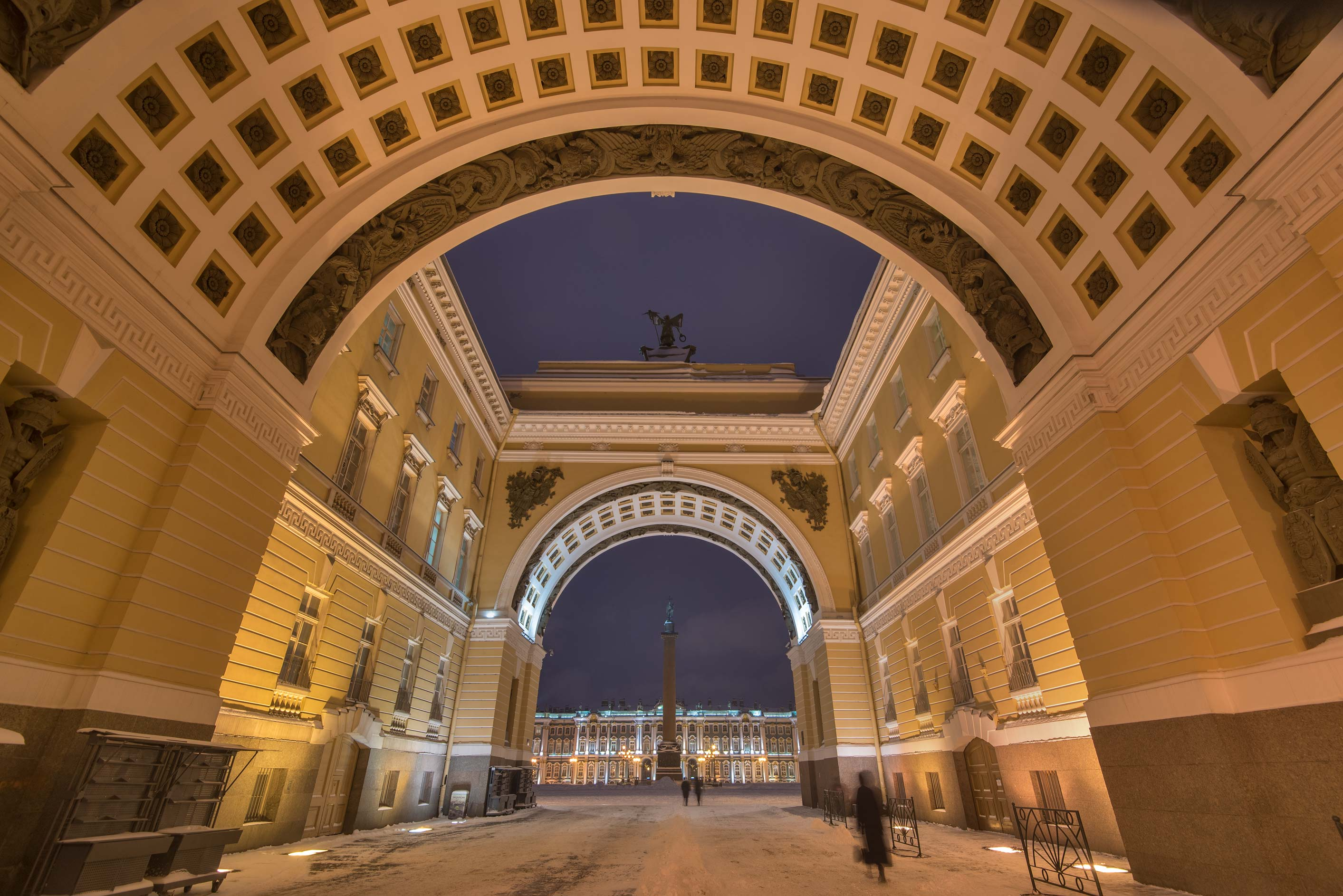Arches of General Staff building at Dvortsovaya Square. St.Petersburg, Russia