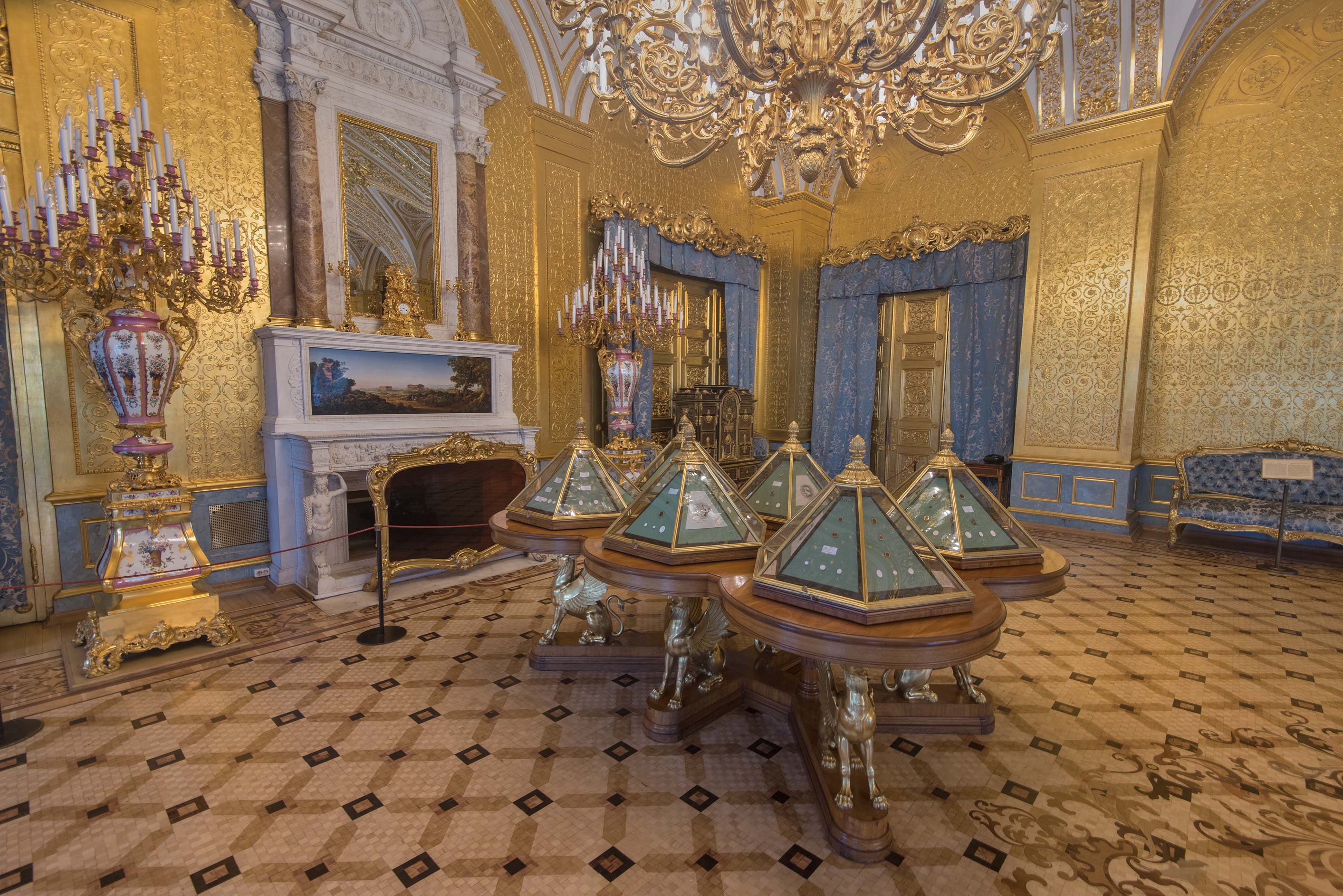 Gold Drawing Room in Hermitage Museum. St.Petersburg, Russia