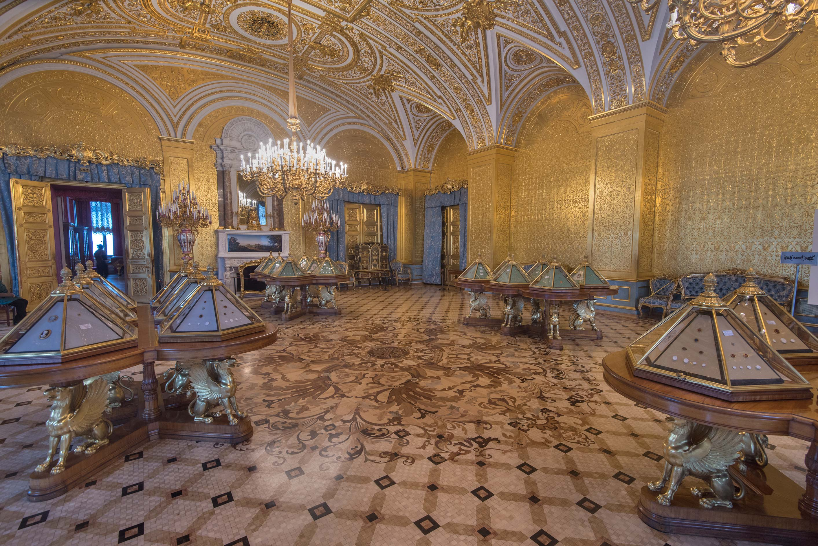 Parquet of gold drawing room in Hermitage Museum. St.Petersburg, Russia