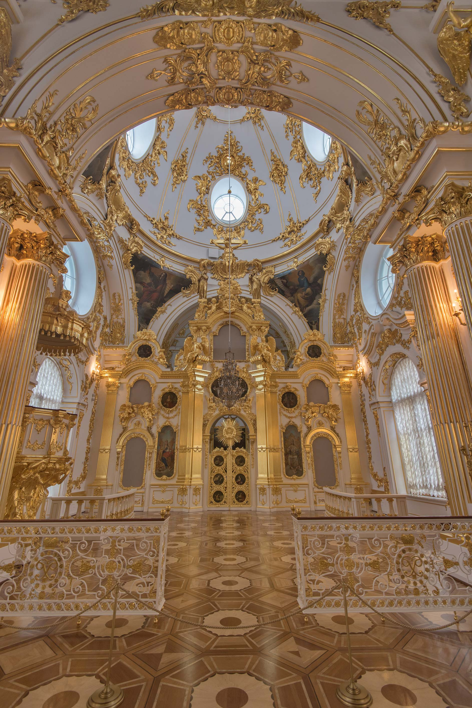 Vaults of Church of Winter Palace in Hermitage Museum. St.Petersburg, Russia