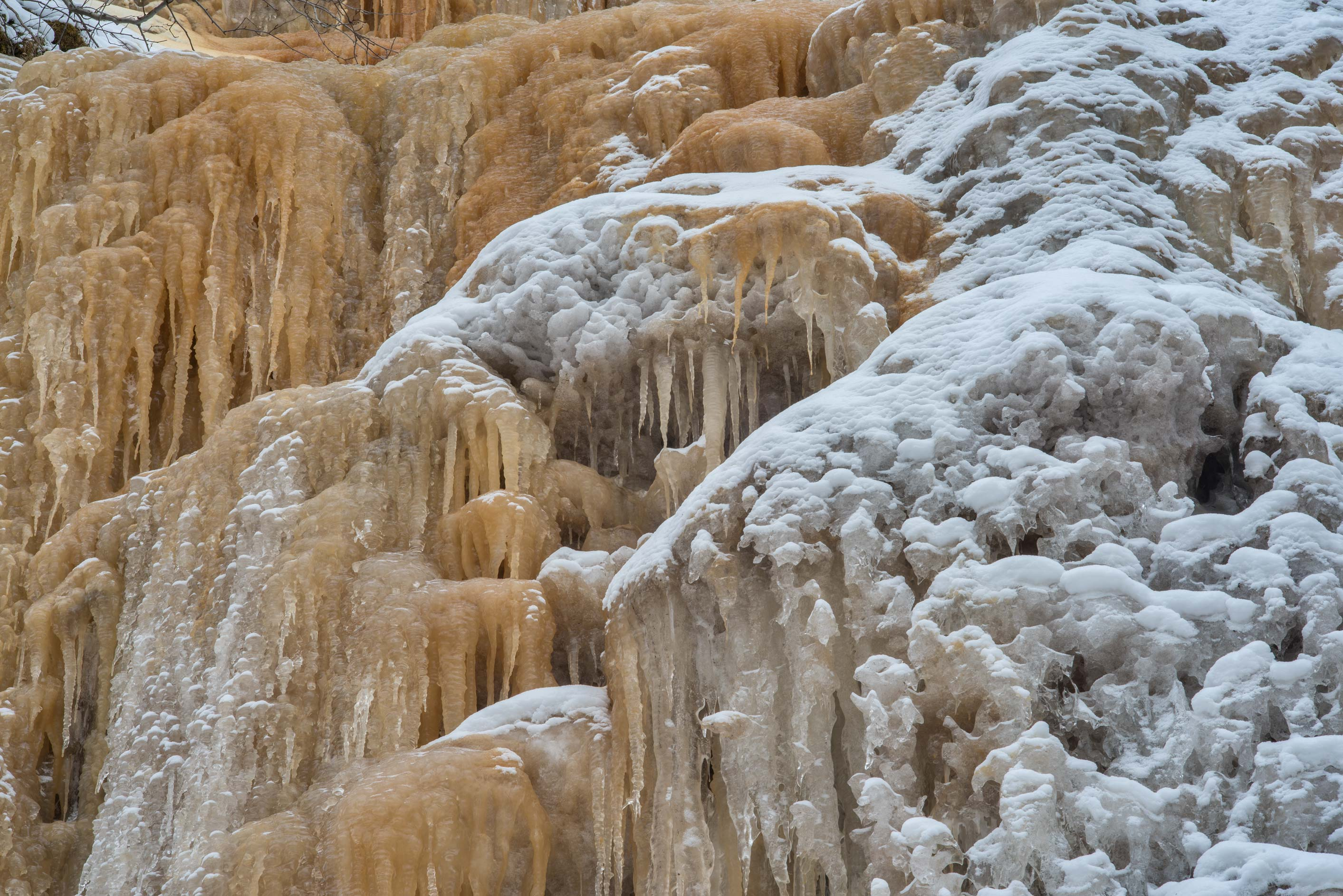 Snow and ice of Martsa Falls in Toyla-Oru Park near Kohtla-Jarve. Ida-Viru County, Estonia