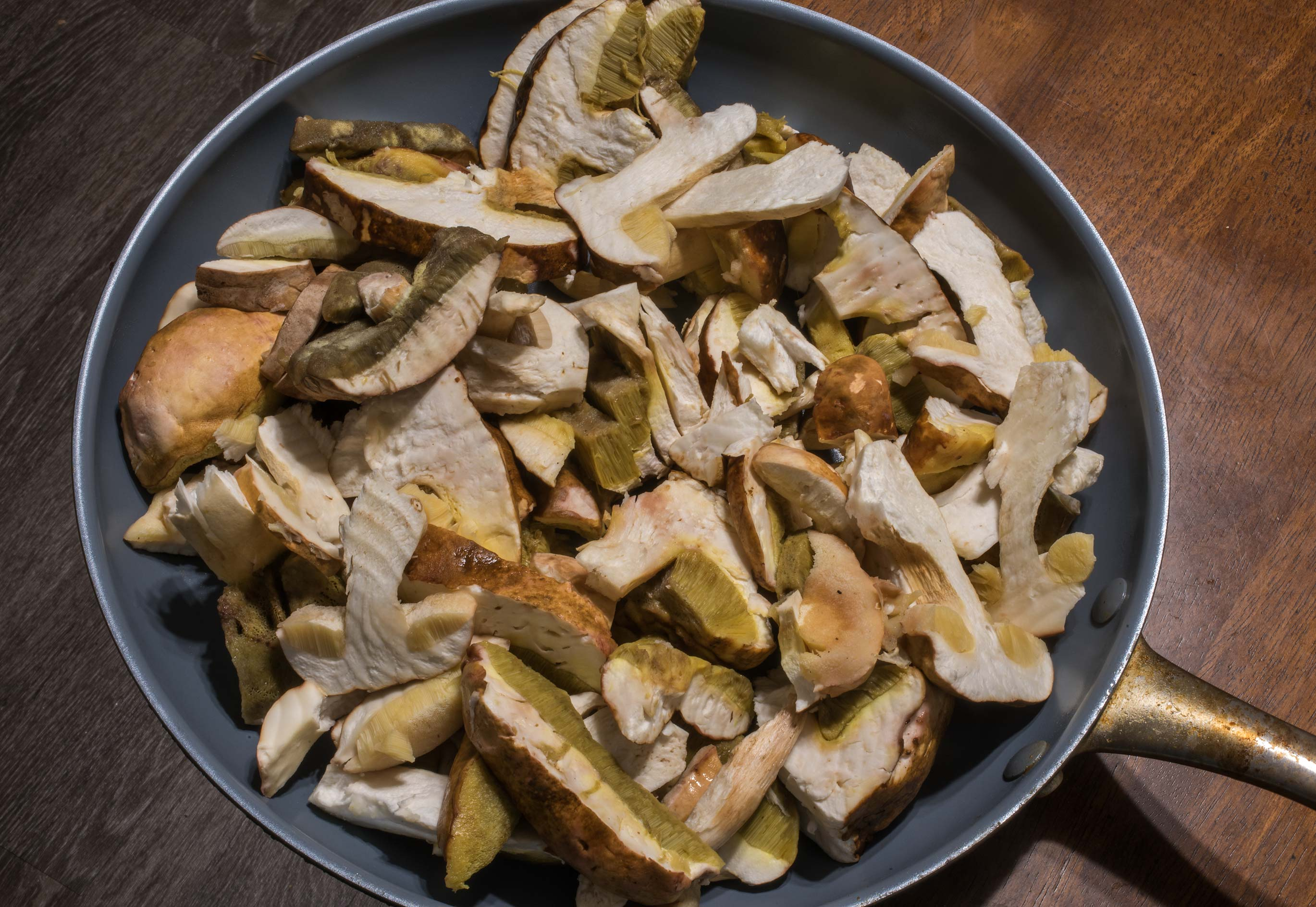 Sliced porcini bolete mushrooms (Boletus edulis...Creek Park. College Station, Texas