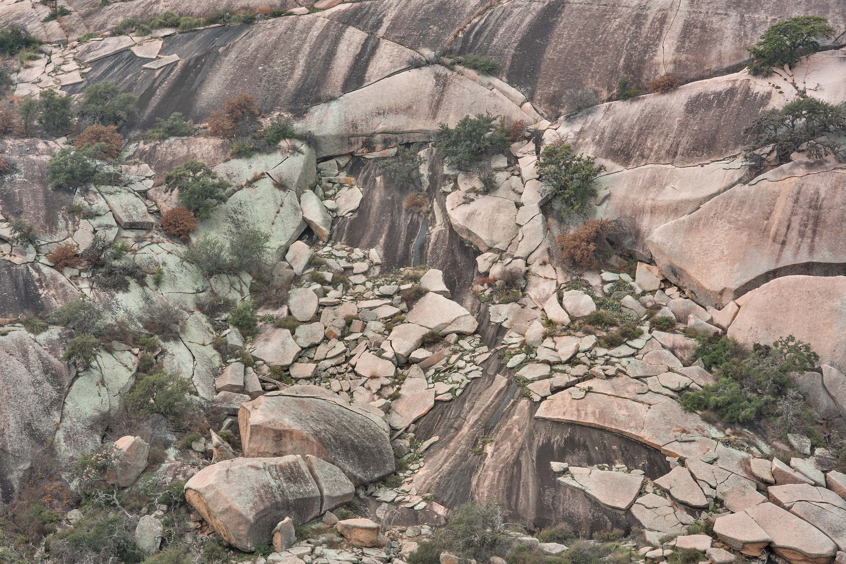 Erosion of the dome of Enchanted Rock, view from...Natural Area, Fredericksburg, Texas