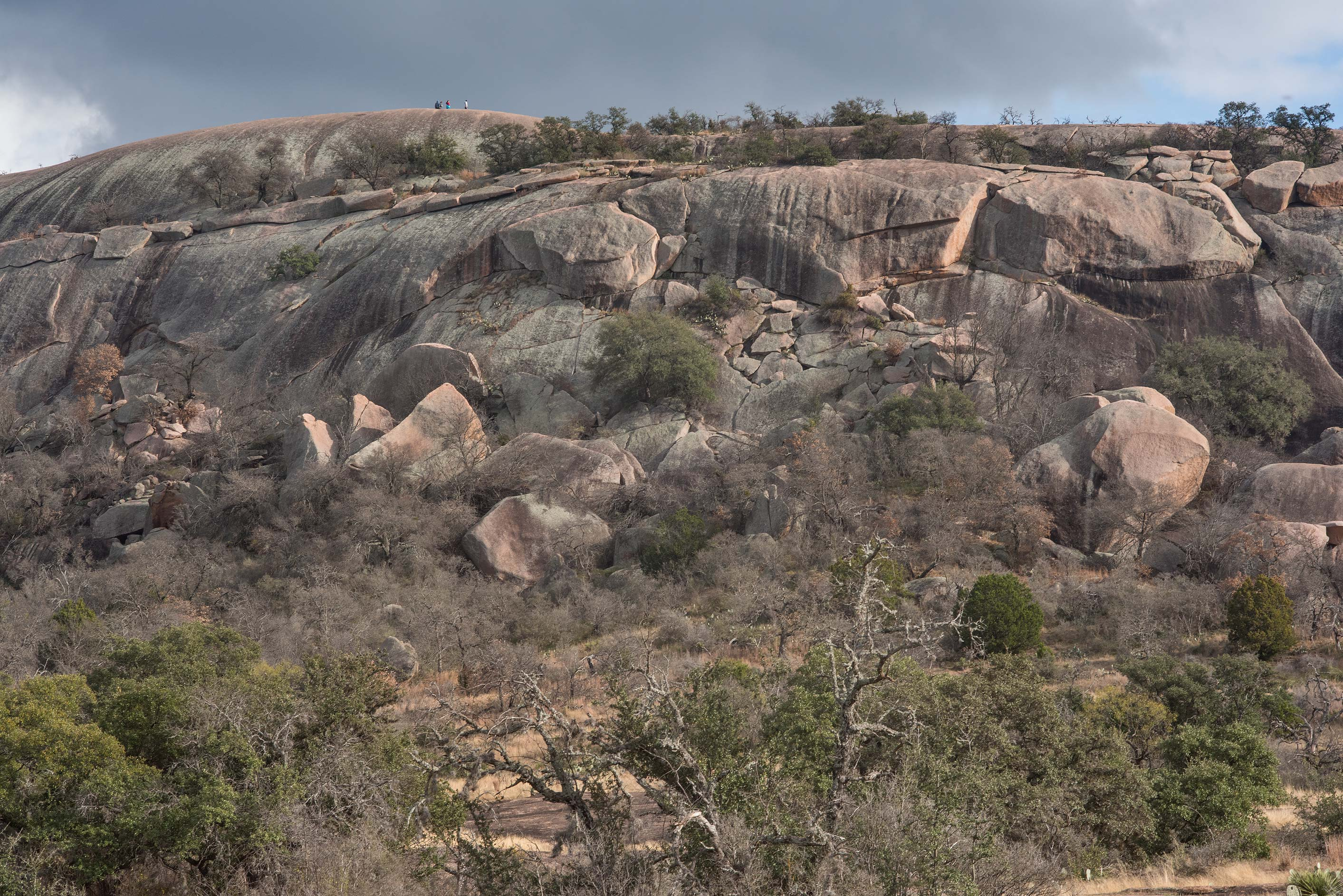 The dome of Enchanted Rock from Echo Canyon...Natural Area, Fredericksburg, Texas