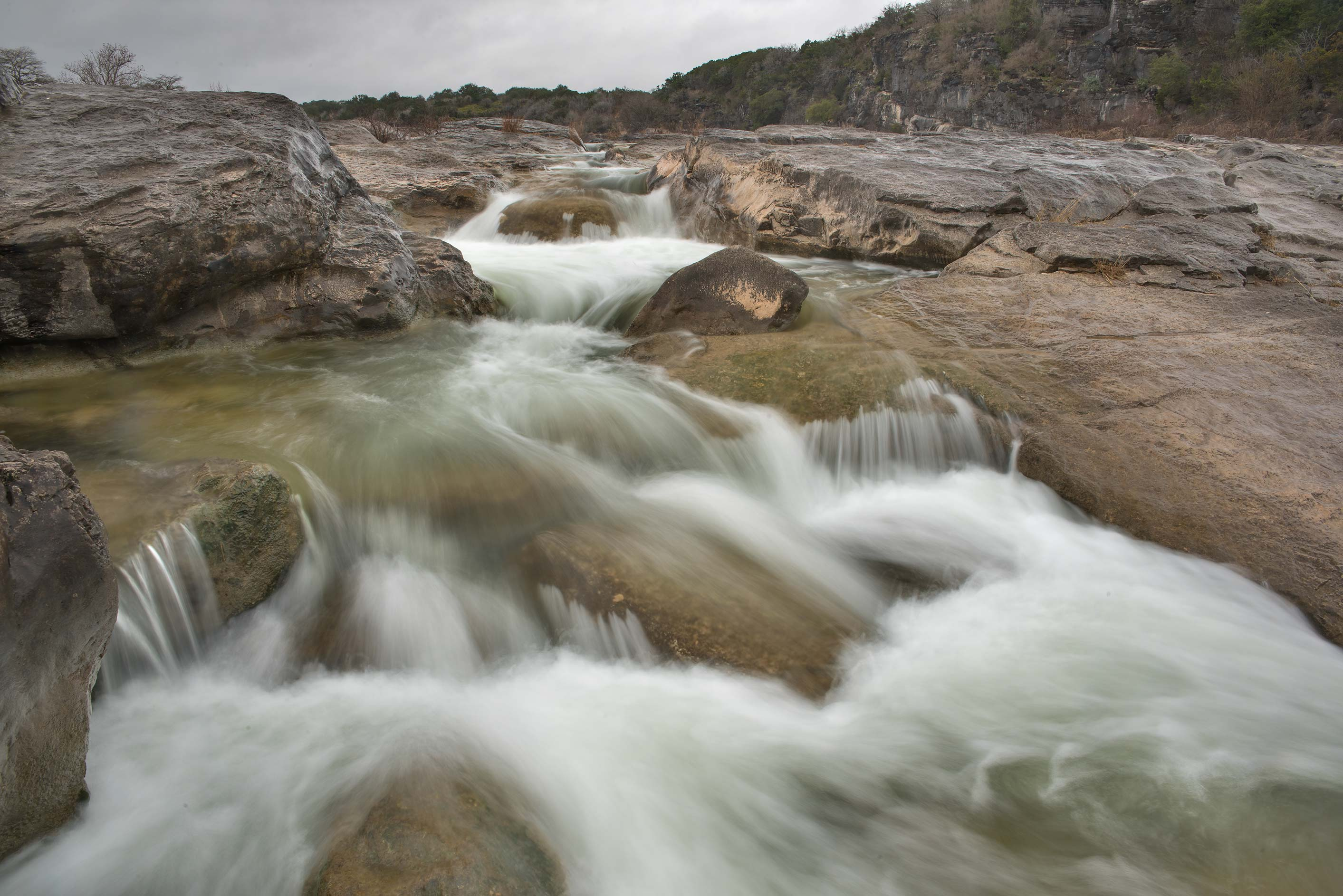 Side waterfall in Pedernales Falls State Park. Johnson City, Texas