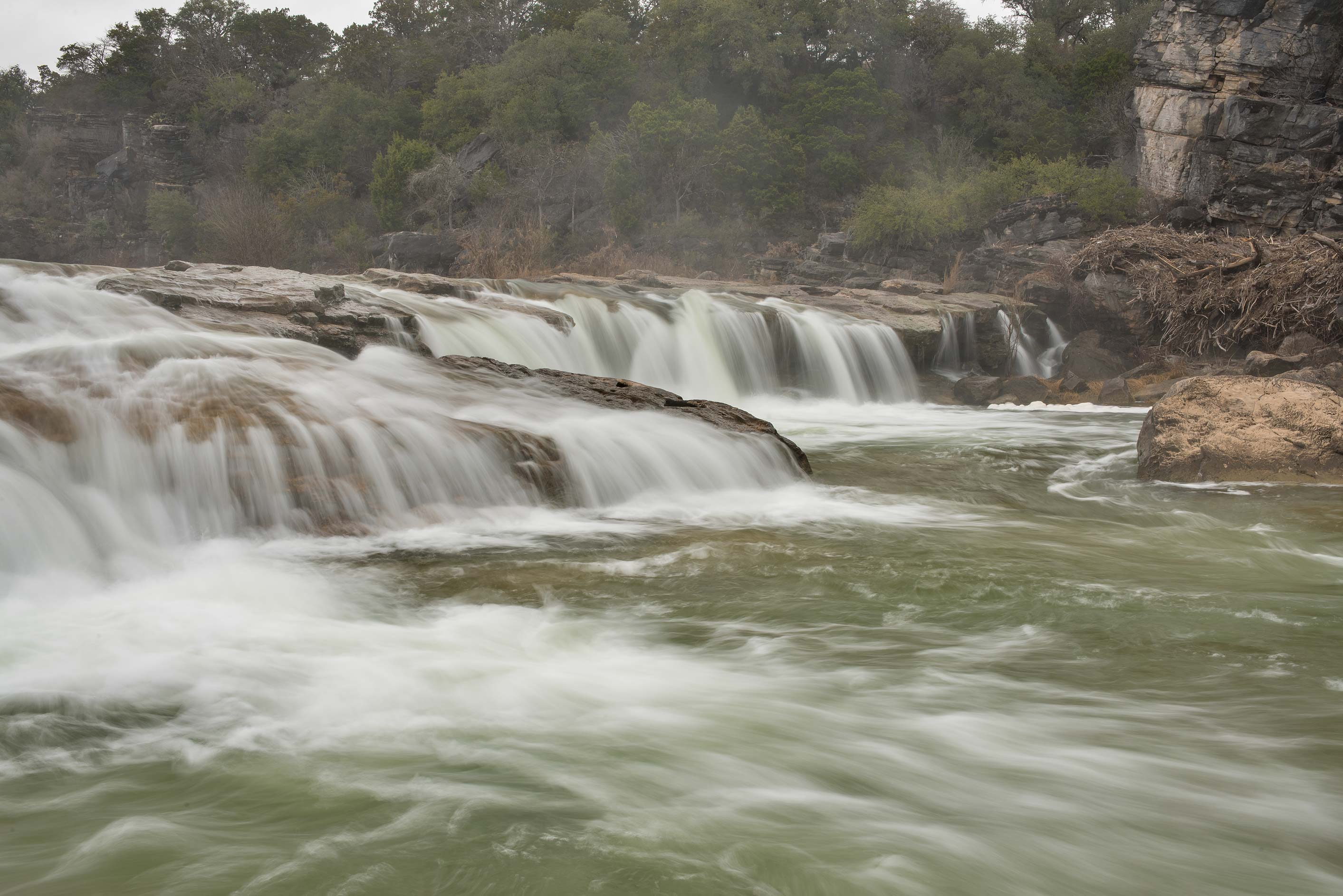 Water cascades in Pedernales Falls State Park. Johnson City, Texas