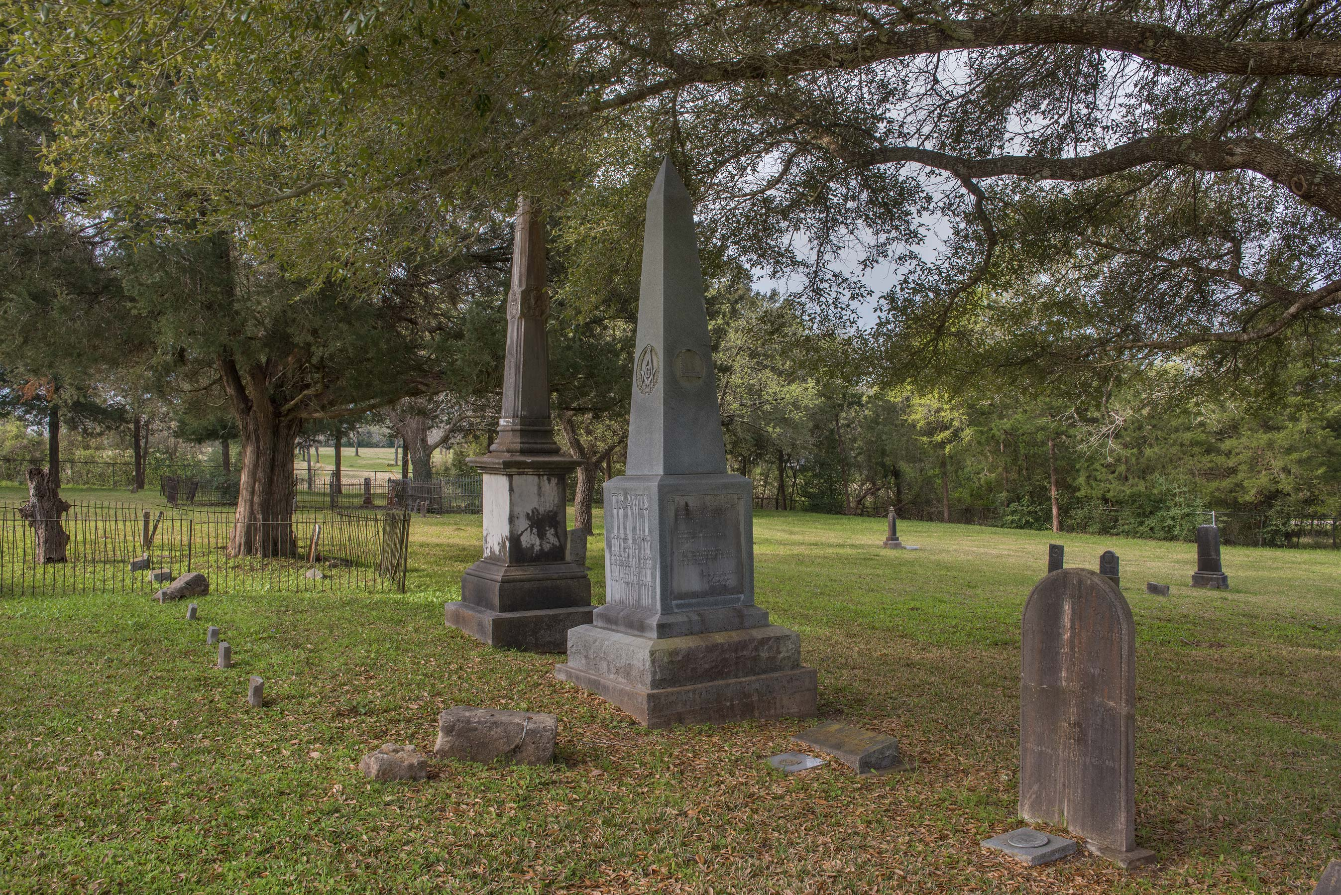 Tombs and oaks in Masonic Cemetery. Chappell Hill, Texas