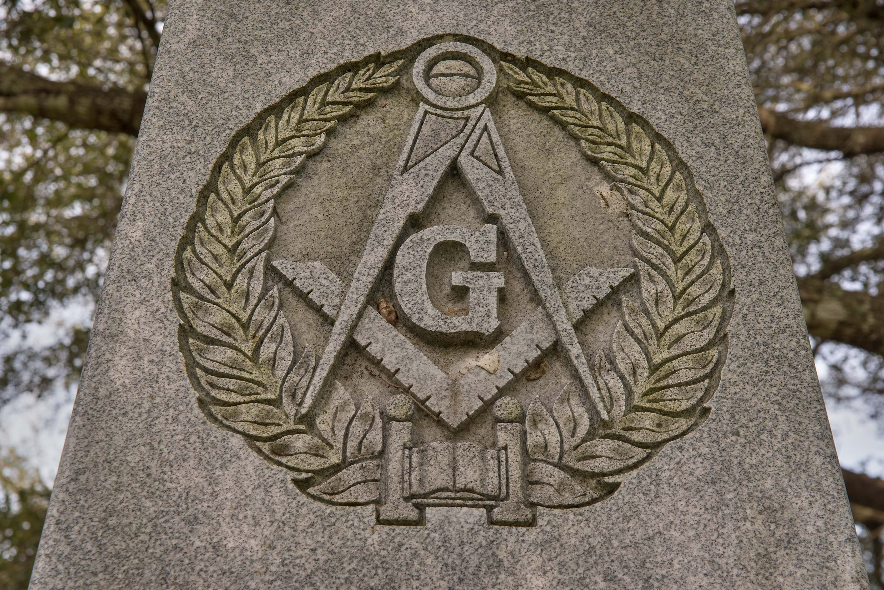 Detail of a granite obelisk in Masonic Cemetery. Chappell Hill, Texas