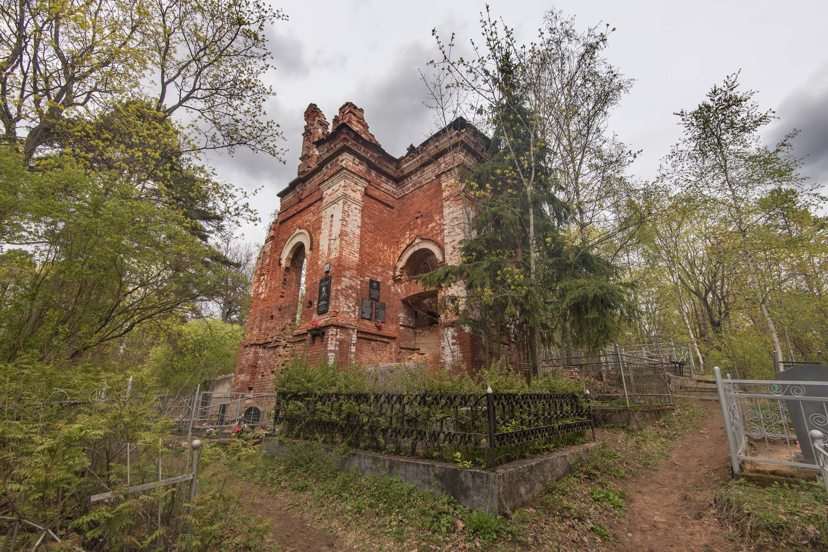 Church of Icon of God's Mother (1858) in Cemetery No. 1 in Kingisepp. Russia