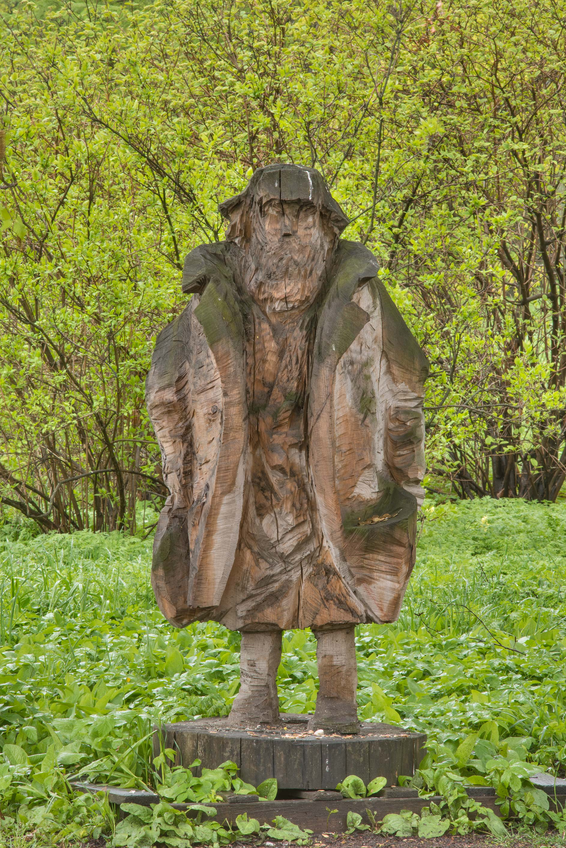 Spring Day (Homeless) wooden sculpture in Peter...Institute. St.Petersburg, Russia